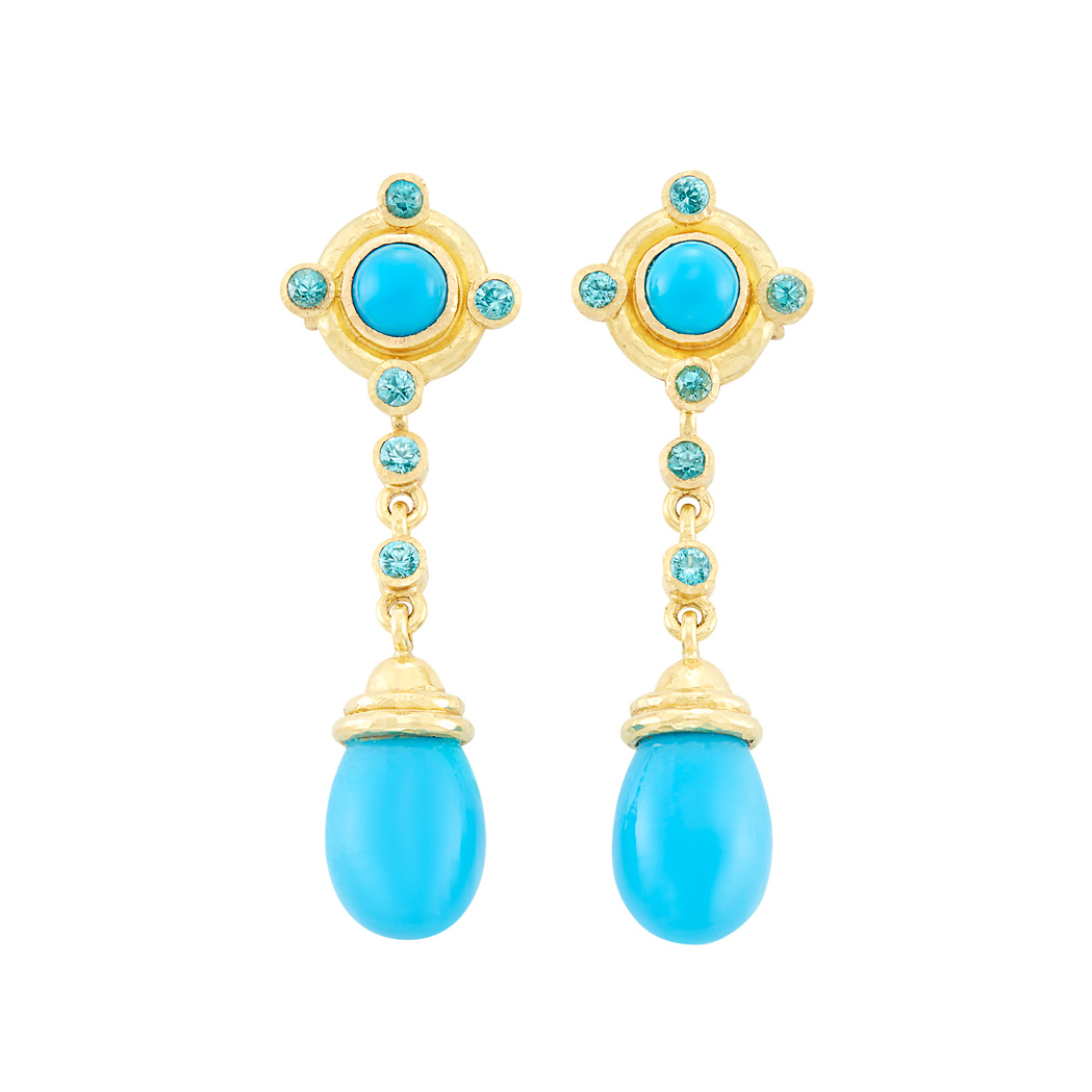 Lot image - Pair of Hammered Gold, Turquoise Composite and Blue Topaz Pendant-Earrings, Elizabeth Locke