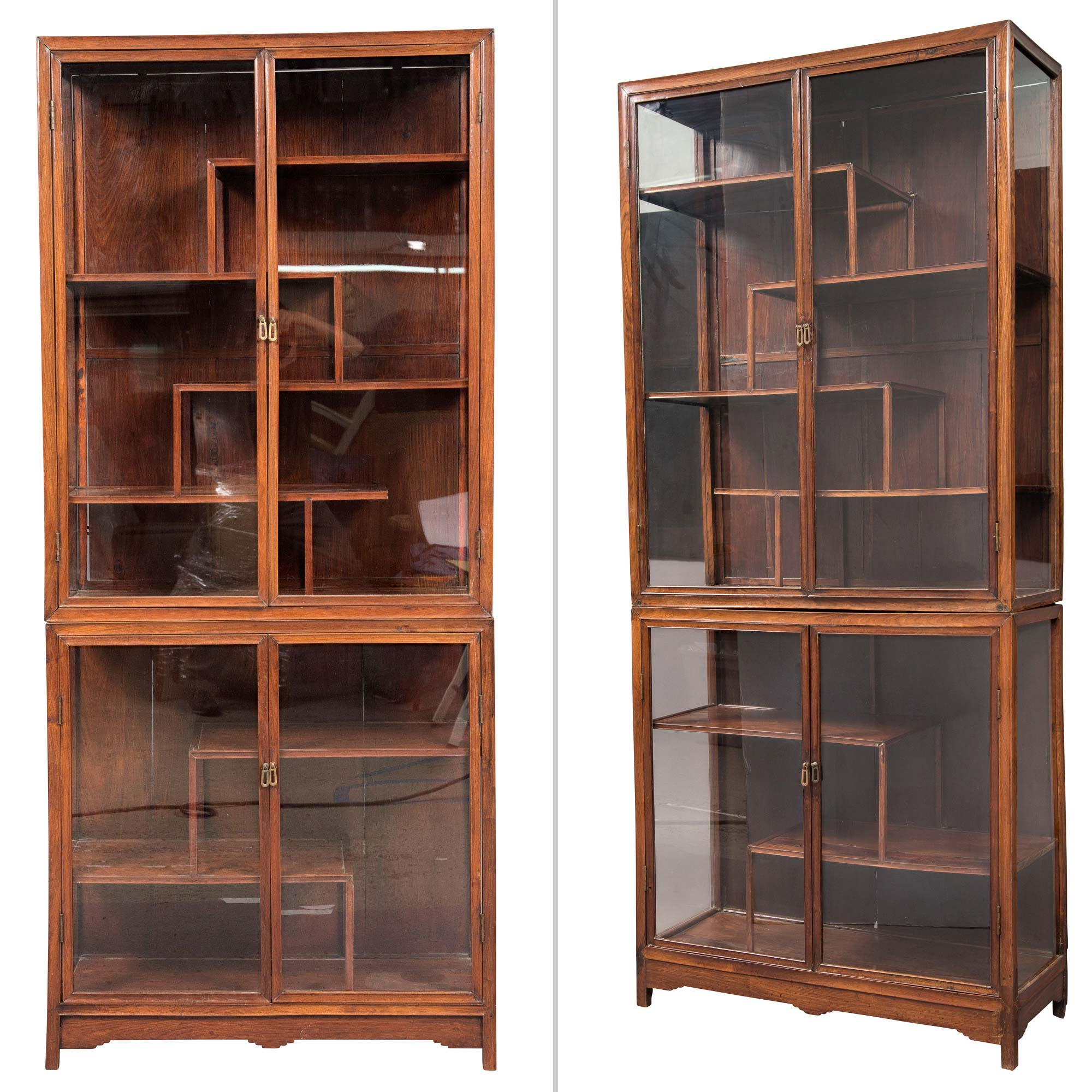 Lot image - Pair of Chinese Hardwood and Glazed Cabinets