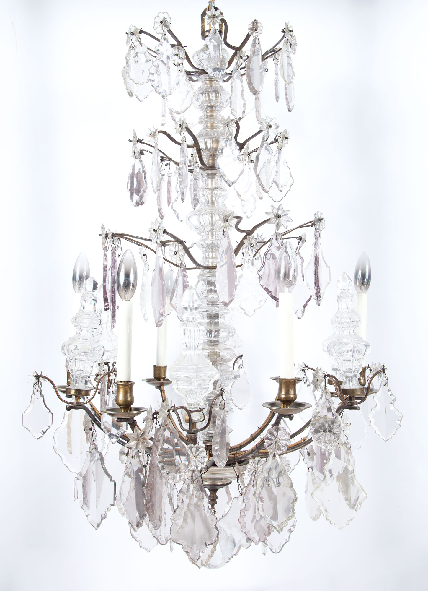 Lot image - Louis XV Style Gilt-Metal and Glass Six-Light Chandelier