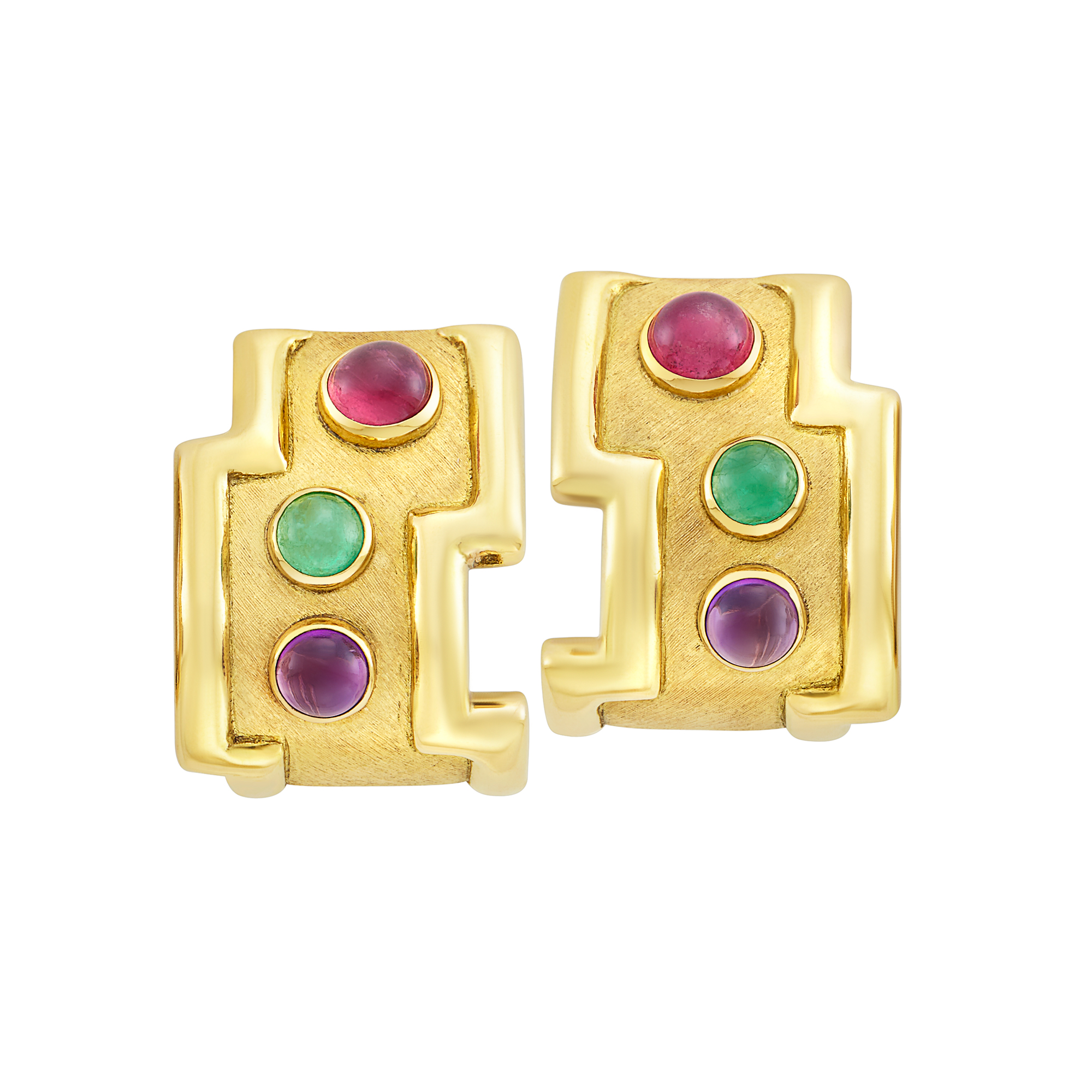 Lot image - Pair of Gold and Cabochon Gem-Set Earclips, Haroldo Burle Marx