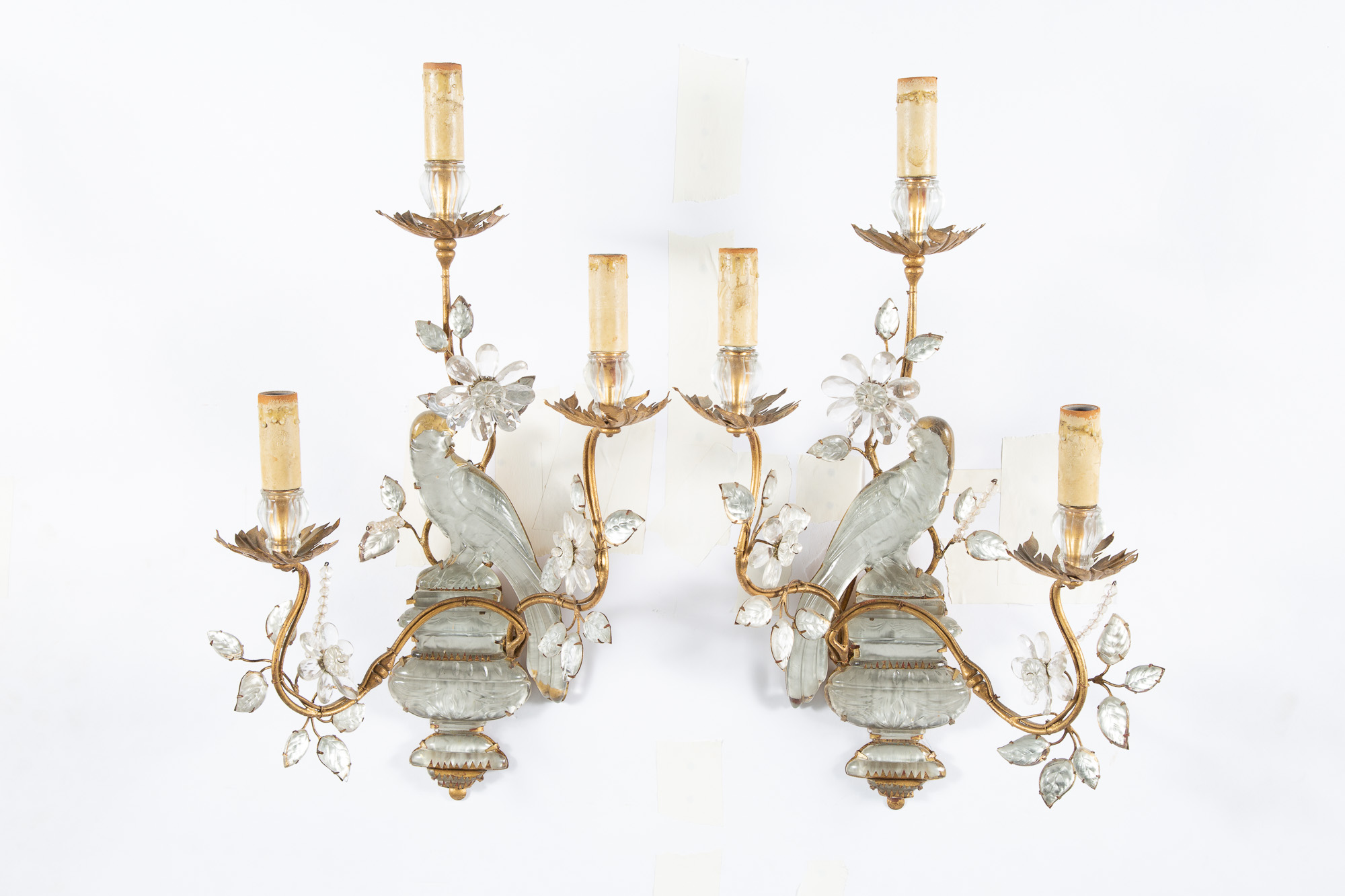 Lot image - Pair of Maison Baguès Style Gilt-Metal and Glass Three-Light Scones
