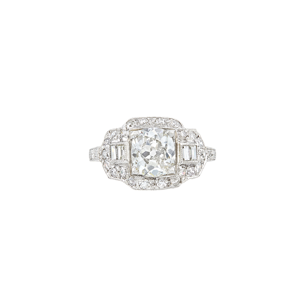 Lot image - Art Deco Platinum and Diamond Engagement Ring