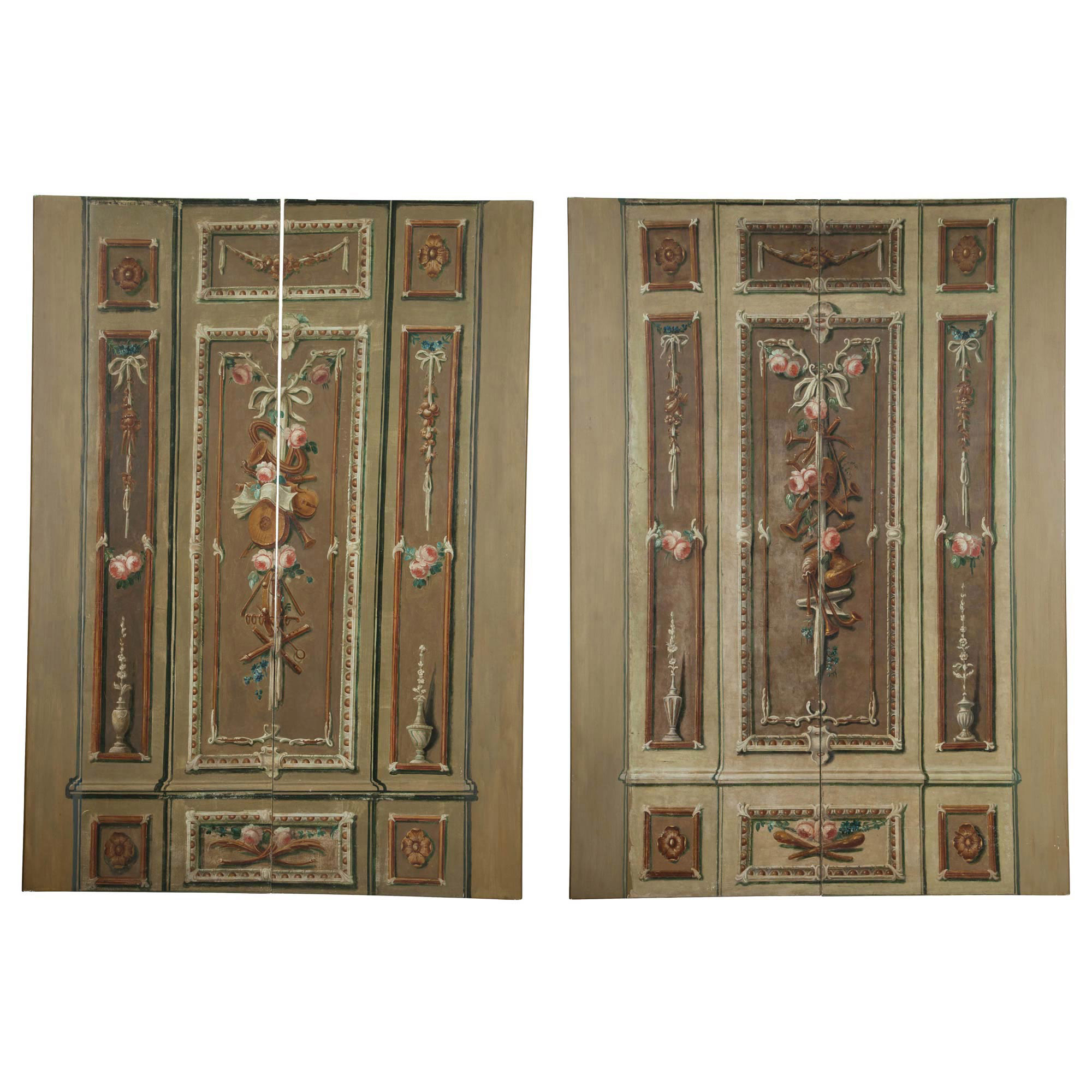Lot image - Four Continental Neoclassical Oil on Canvas Architectural Panels
