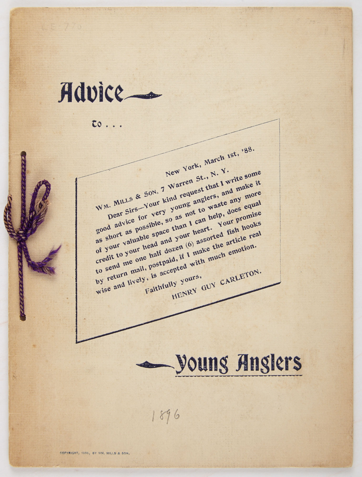 Lot image - CARLETON, HENRY GUY  Advice to Young Anglers.