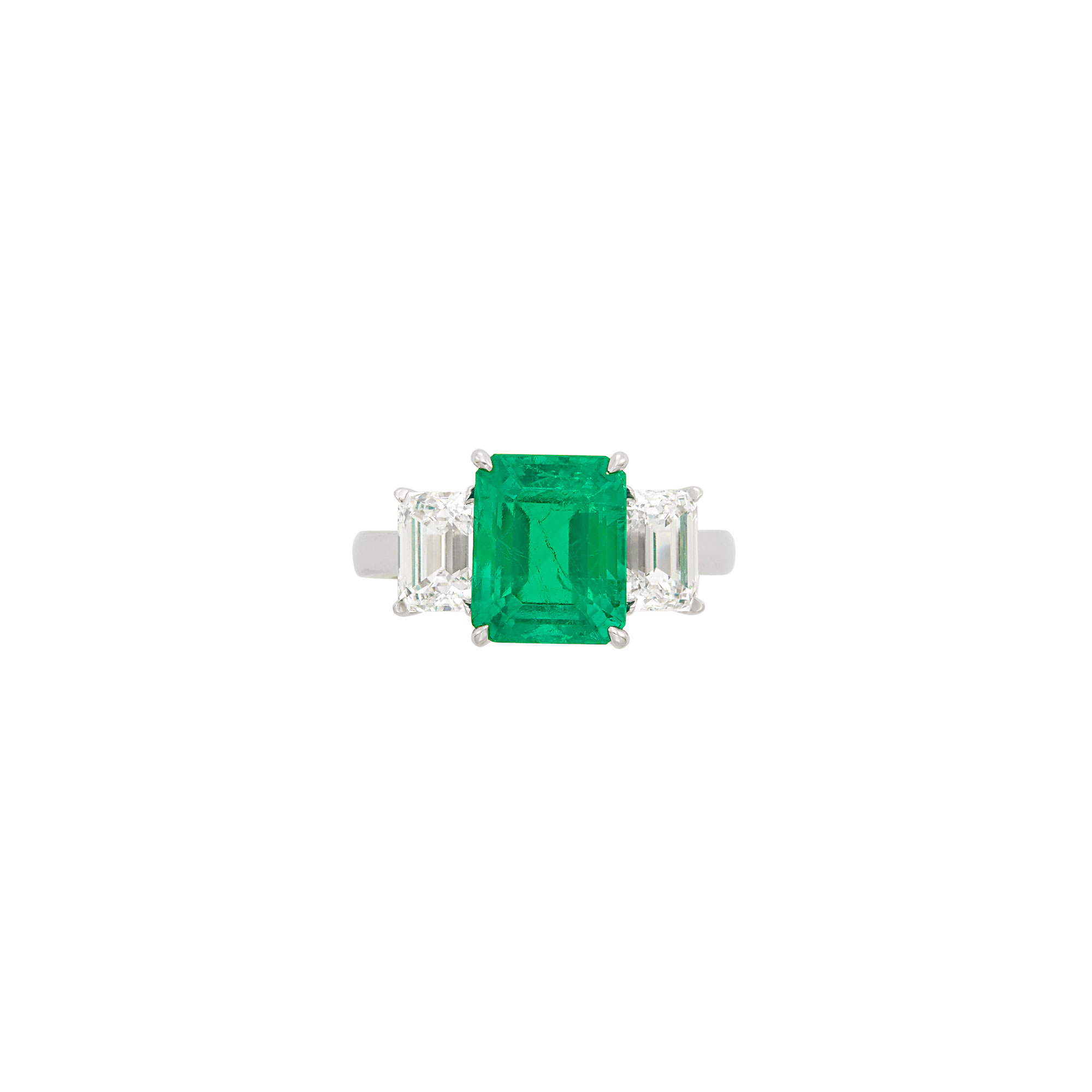 Lot image - Platinum, Emerald and Diamond Ring