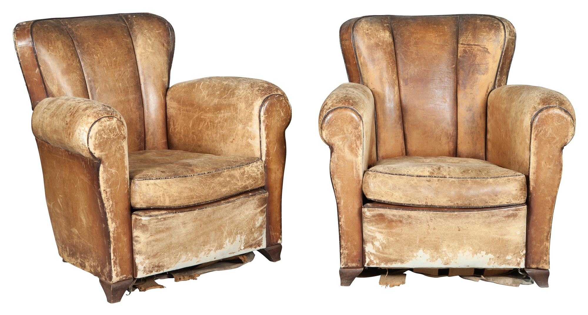Lot image - Pair of Leather Club Chairs
