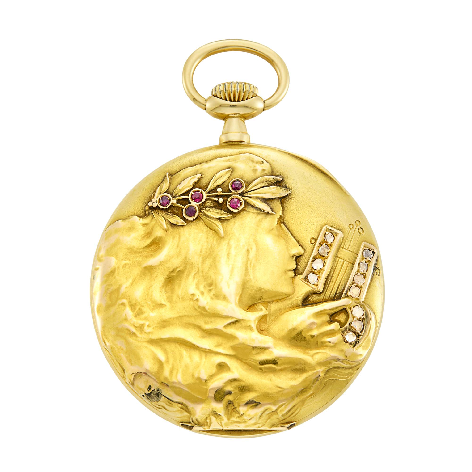 Lot image - Art Nouveau Gold, Ruby and Diamond Open Face Pocket Watch