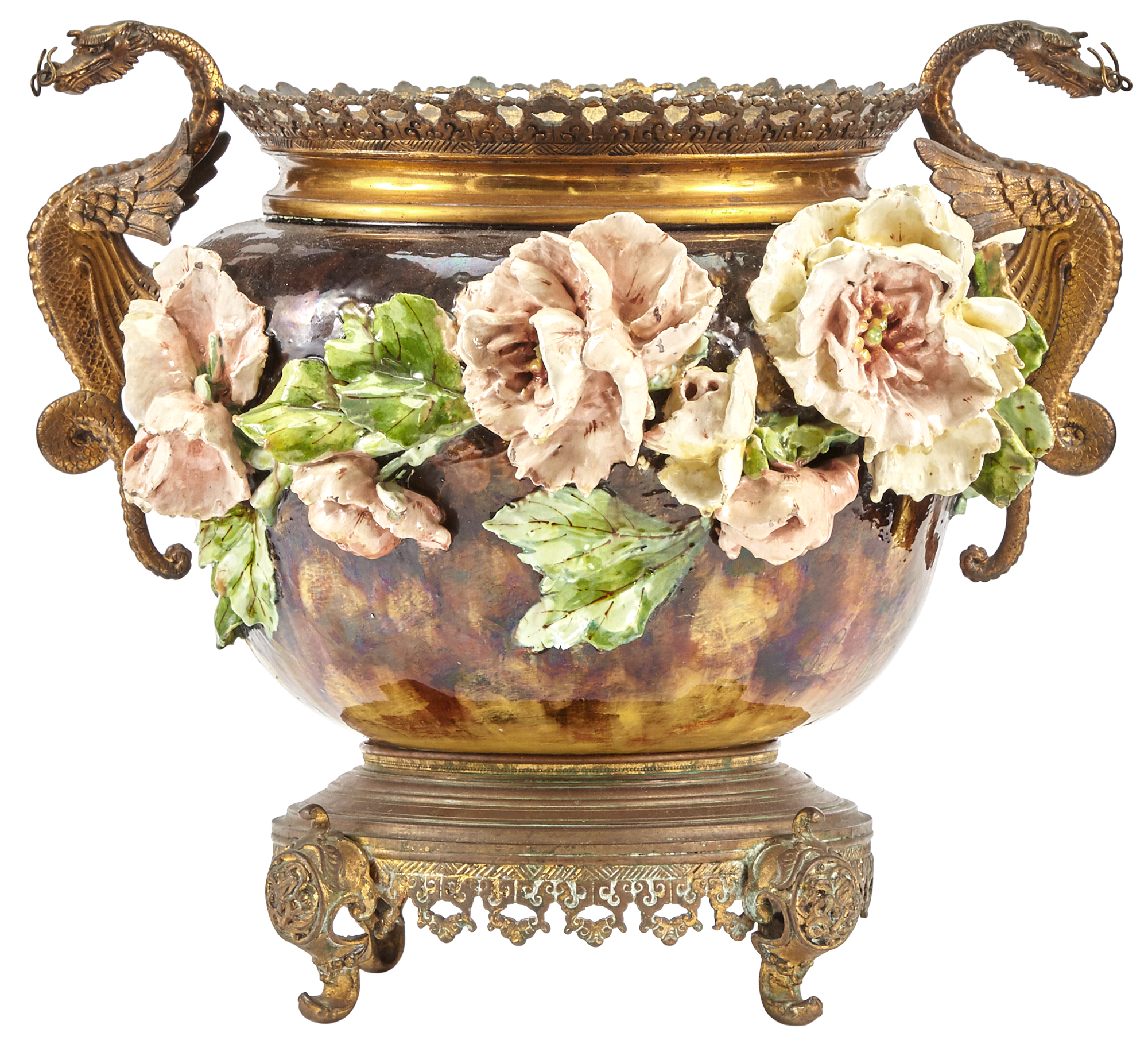 Lot image - French Gilt-Bronze Mounted Barbotine Majolica Jardinière on Stand