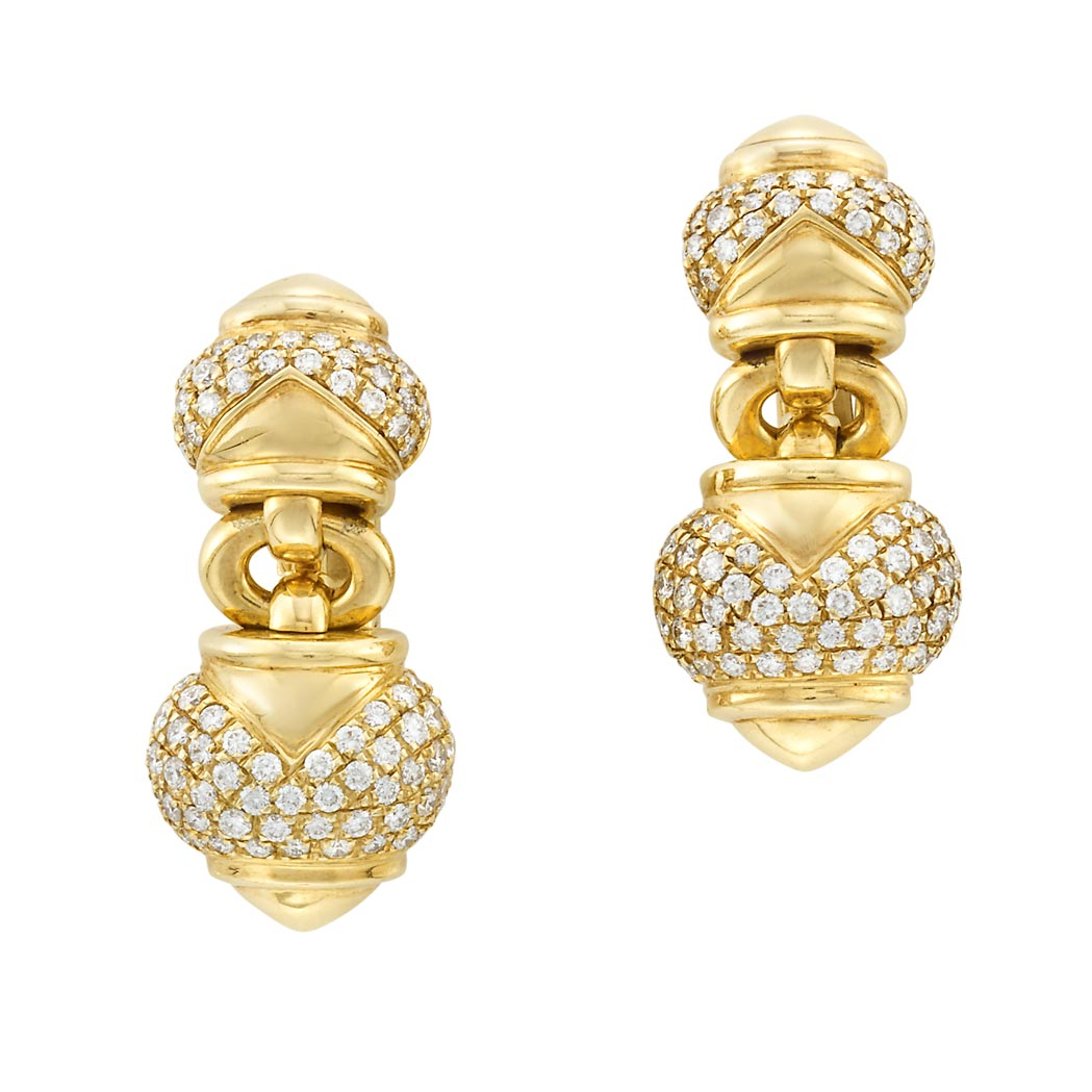 Lot image - Pair of Gold and Diamond Earclips, Bulgari