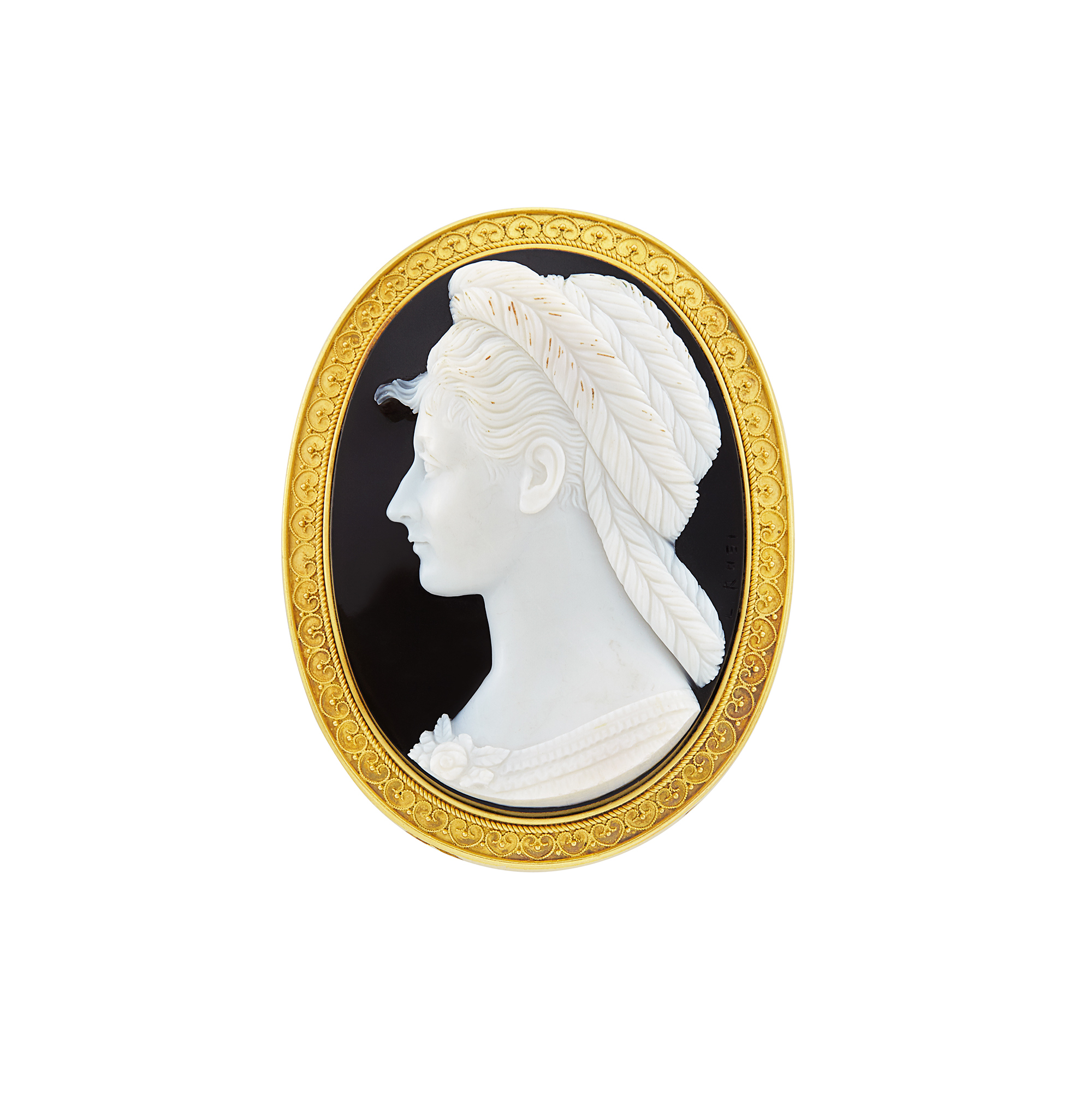 Lot image - Antique Gold and Agate Cameo Pendant-Brooch, Luigi Rosi