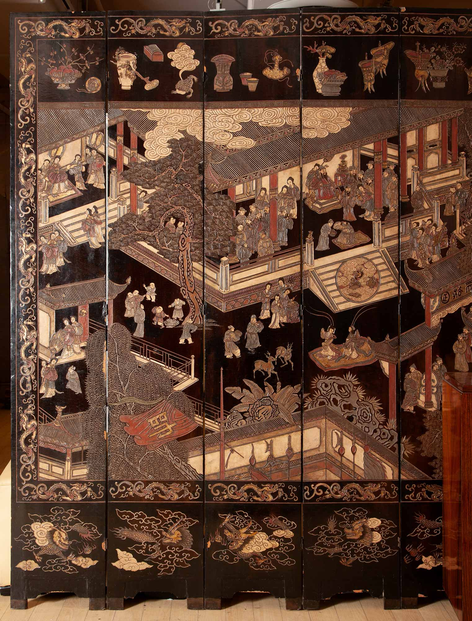 Lot image - Chinese Polychrome-Decorated Coromandel Lacquer Eight-Panel Screen