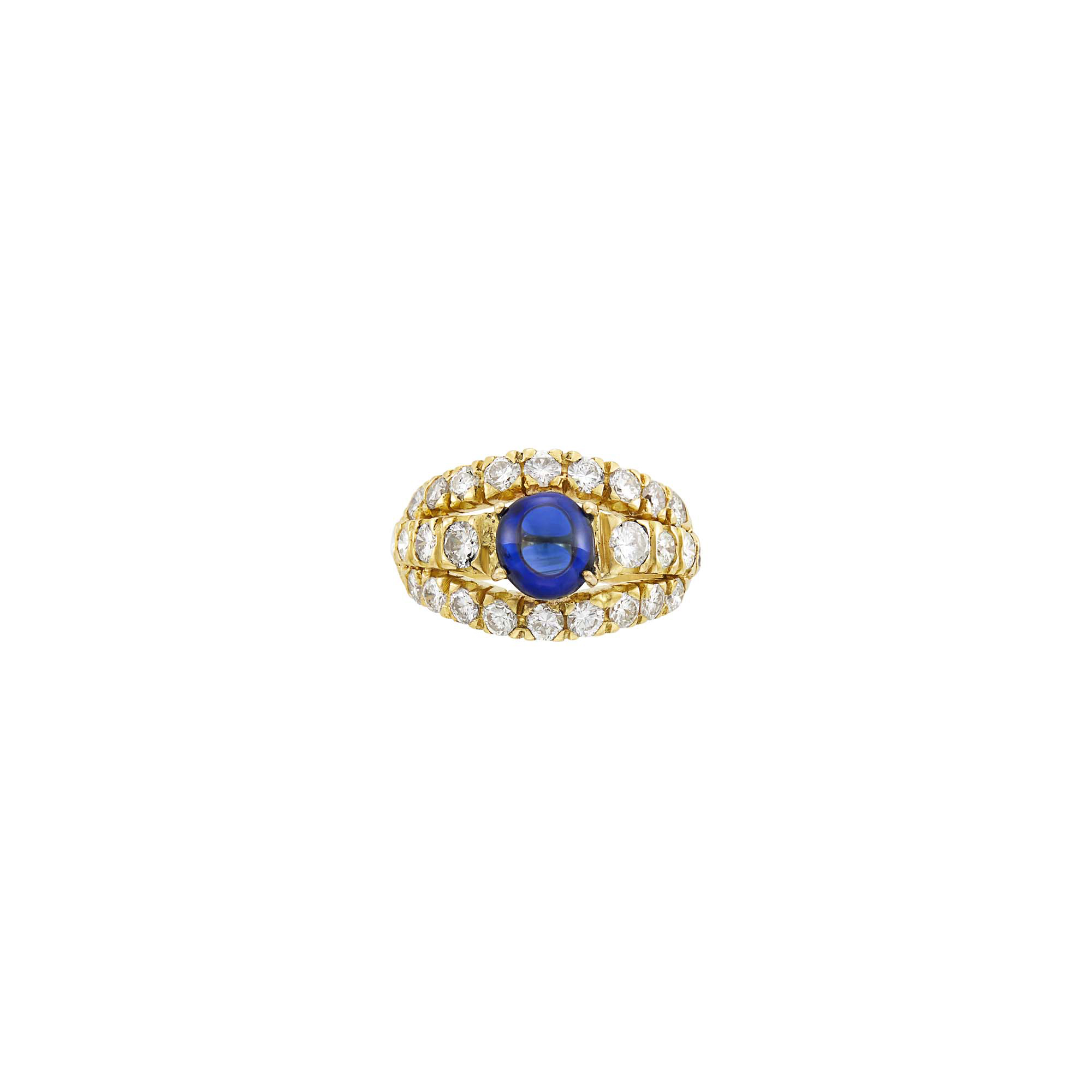 Lot image - Graff Gold, Cabochon Sapphire and Diamond Ring
