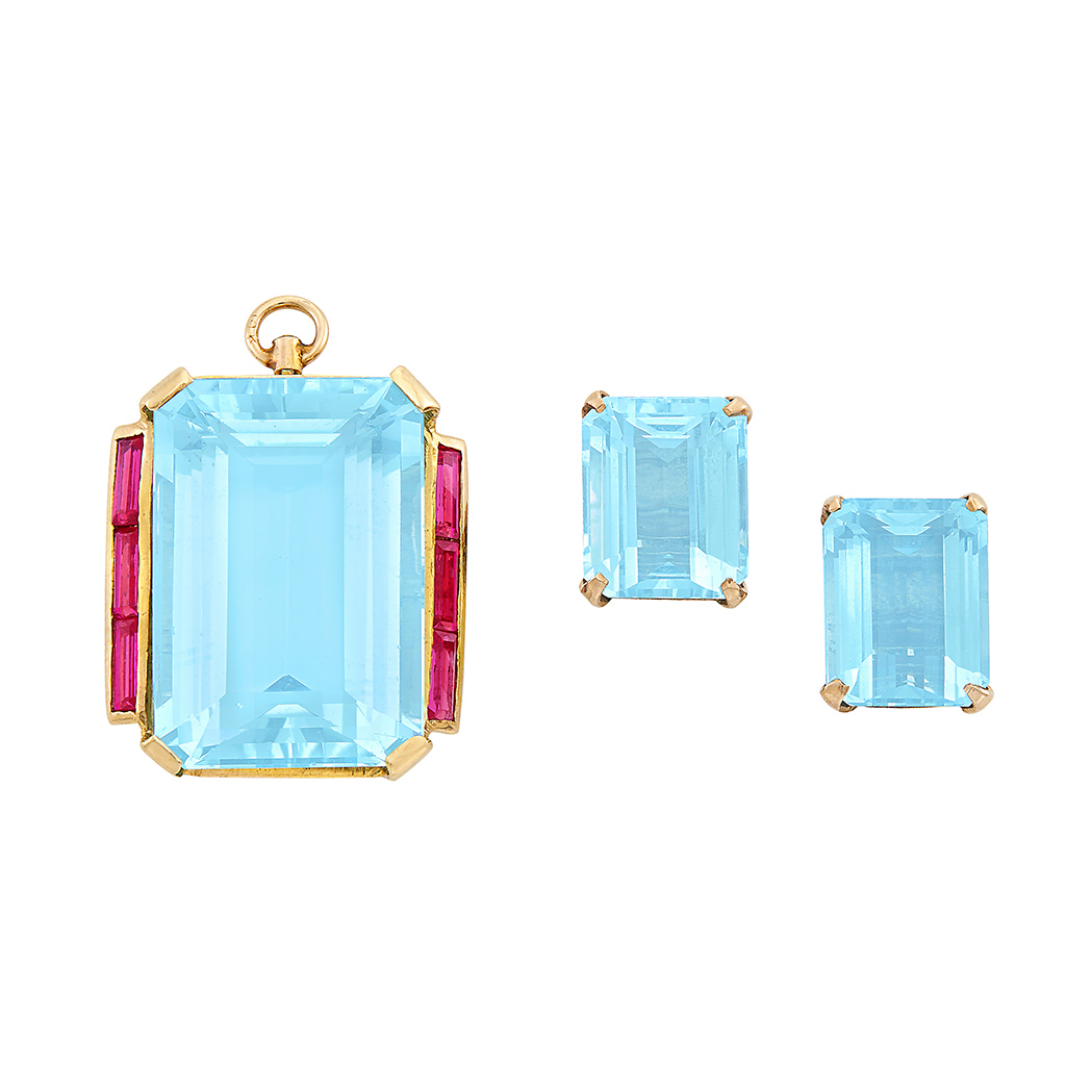 Lot image - Retro Gold, Aquamarine and Synthetic Ruby Pendant-Brooch and Pair of Earclips