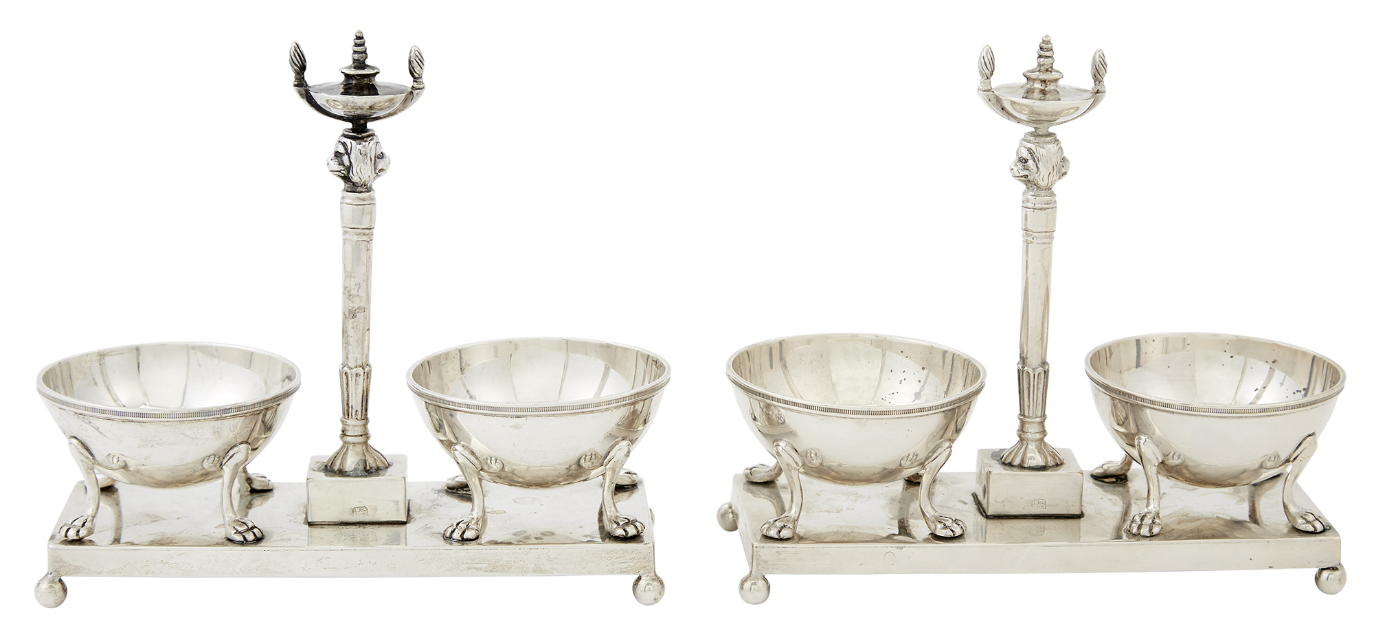 Lot image - Pair of George III Sterling Silver Double Open Salt Cellars