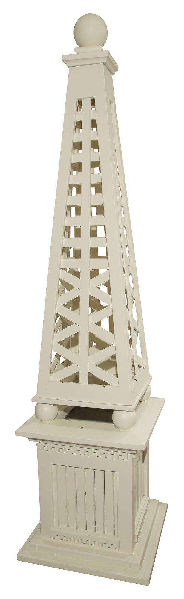 Lot image - Pair of White Painted Wood Garden Obelisks