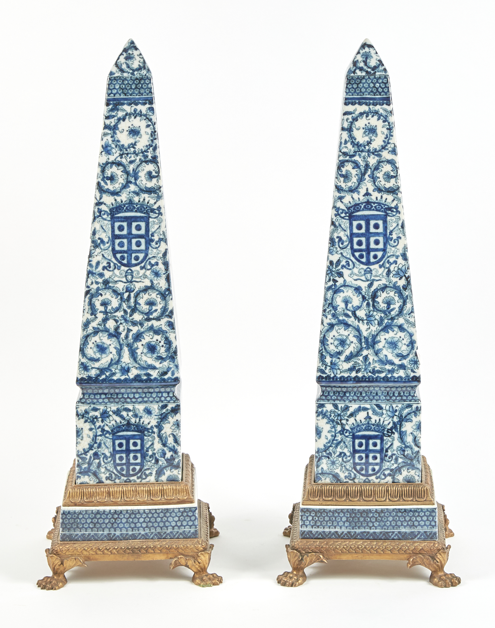 Lot image - Pair of Chinese Export Style Blue and White Porcelain and Brass-Mounted Obelisks