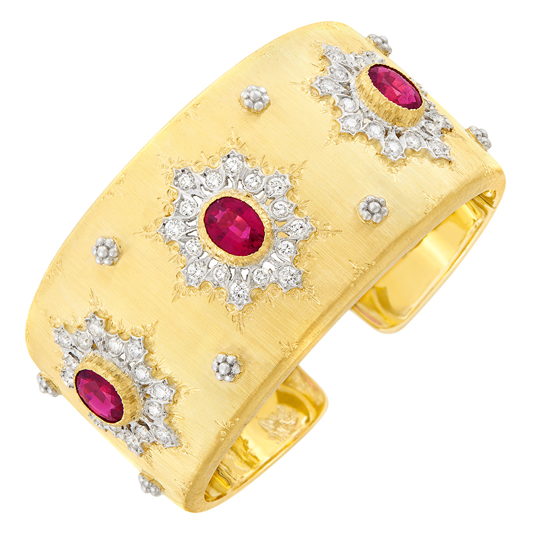 Lot image - Two-Color Gold, Rubellite and Diamond Cuff Bangle Bracelet