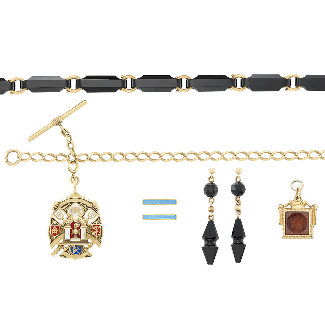 Lot image - Antique Gold, Gold-Filled, Onyx, Enamel and Carnelian Watch Chain, Necklace, Earrings, Intaglio Fob and Lingerie Pins