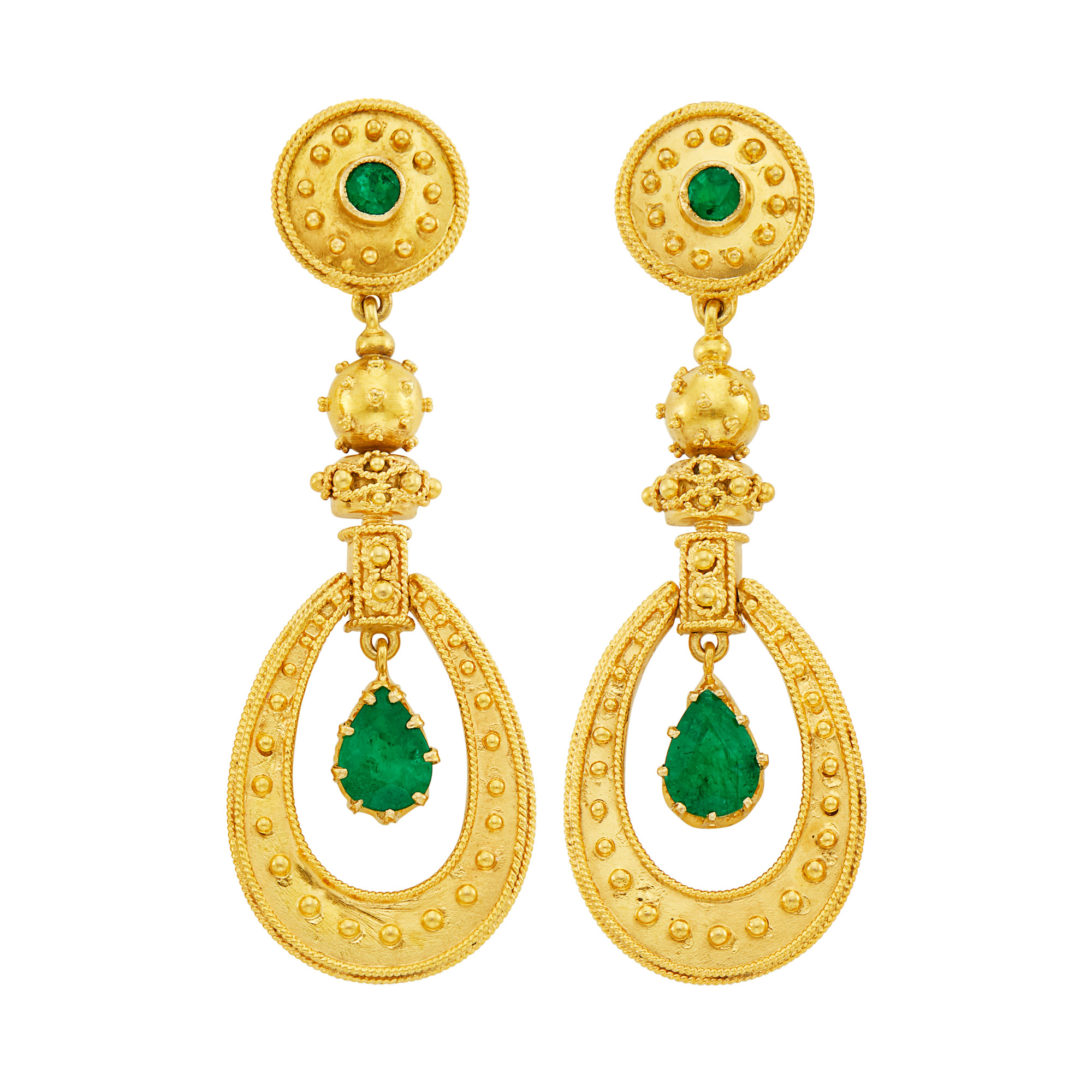 Lot image - Pair of Gold and Emerald Pendant-Earrings, Zolotas
