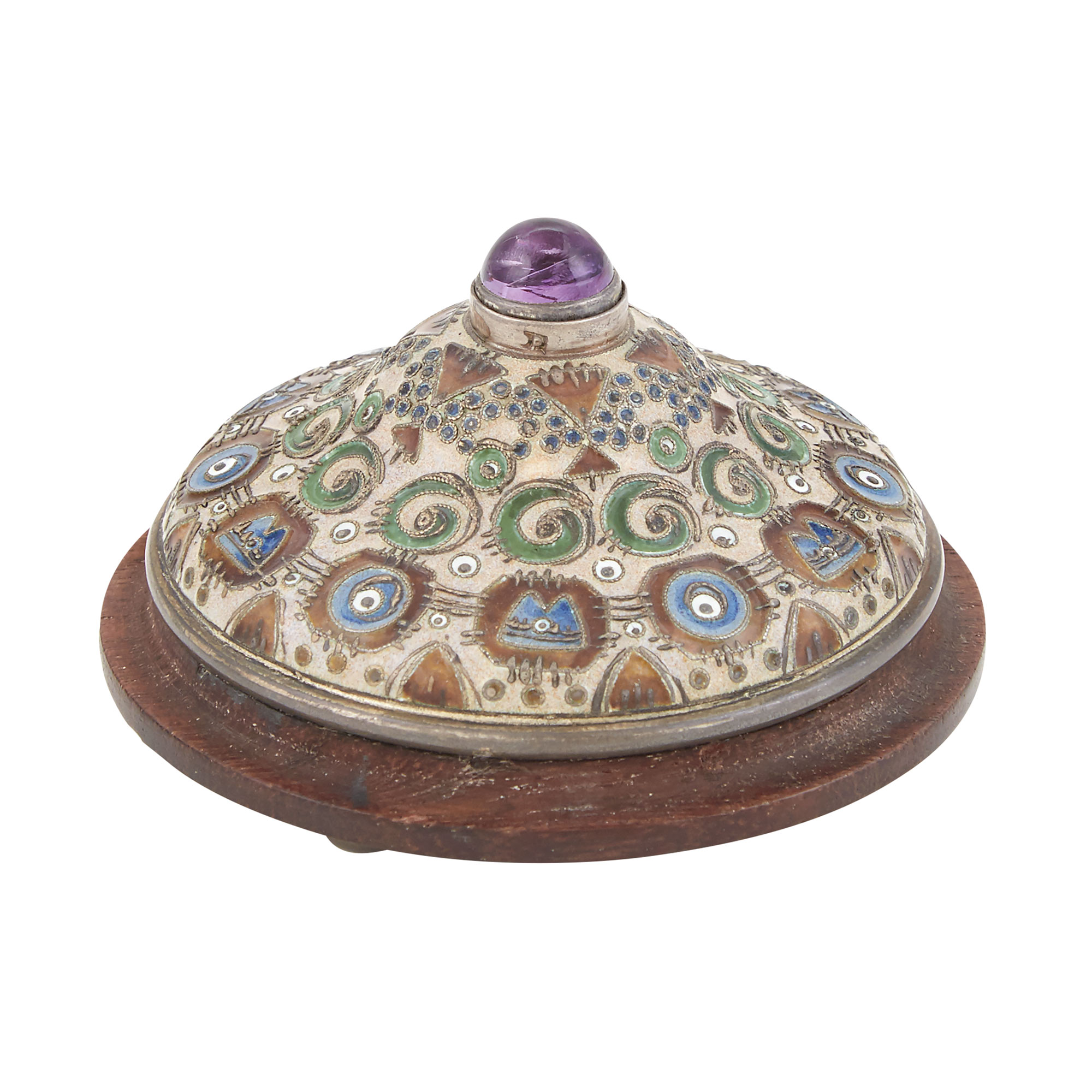 Lot image - Russian Silver and Cloisonné Enamel Bell Push