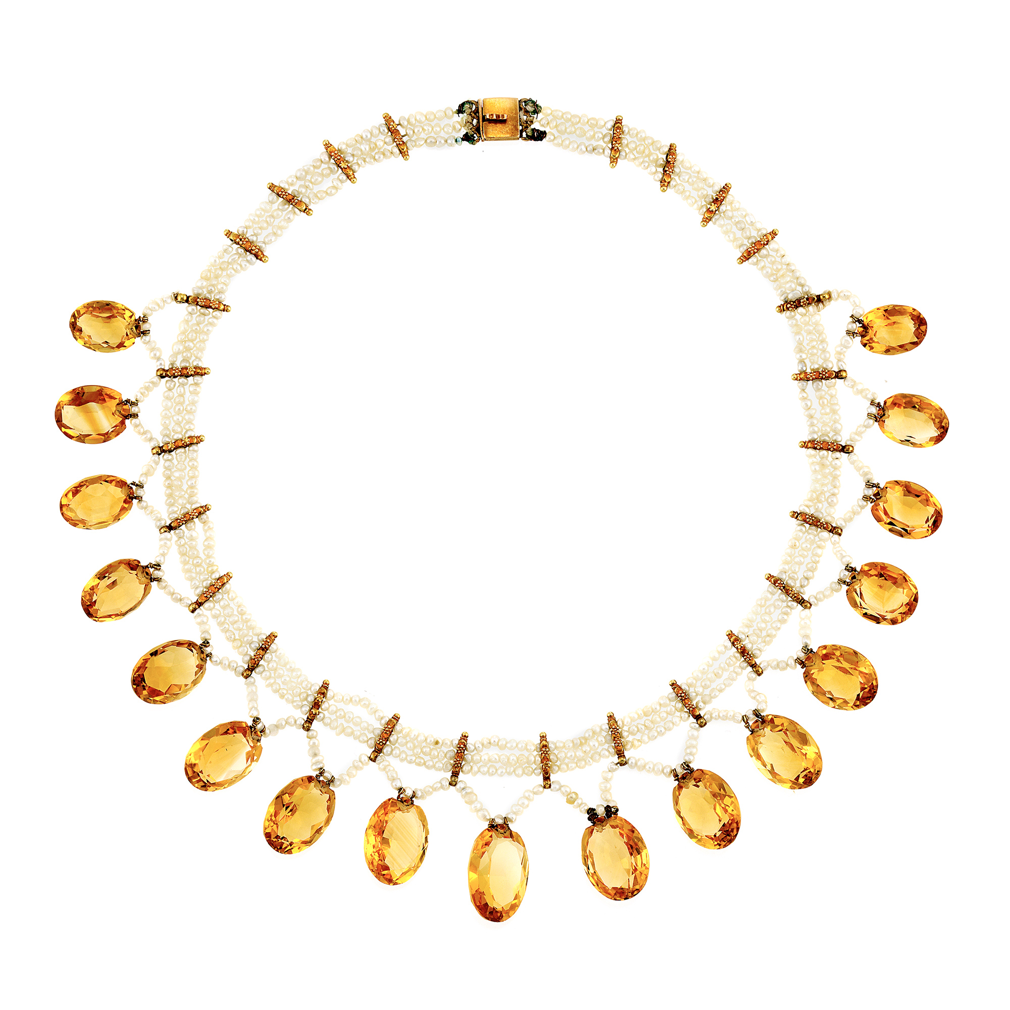 Lot image - Triple Strand Seed Pearl, Gold and Citrine Fringe Necklace