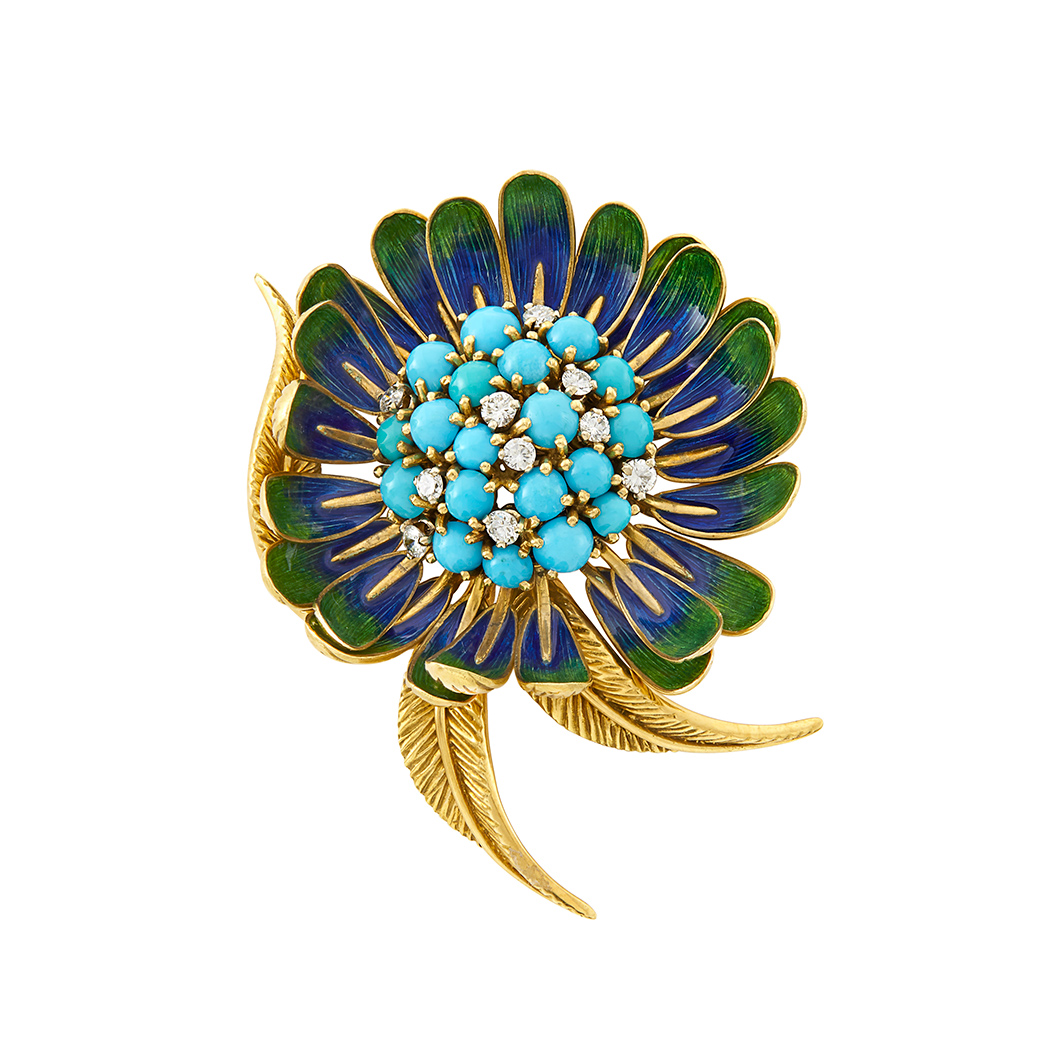 Lot image - Gold, Turquoise, Enamel and Diamond Flower Clip-Brooch