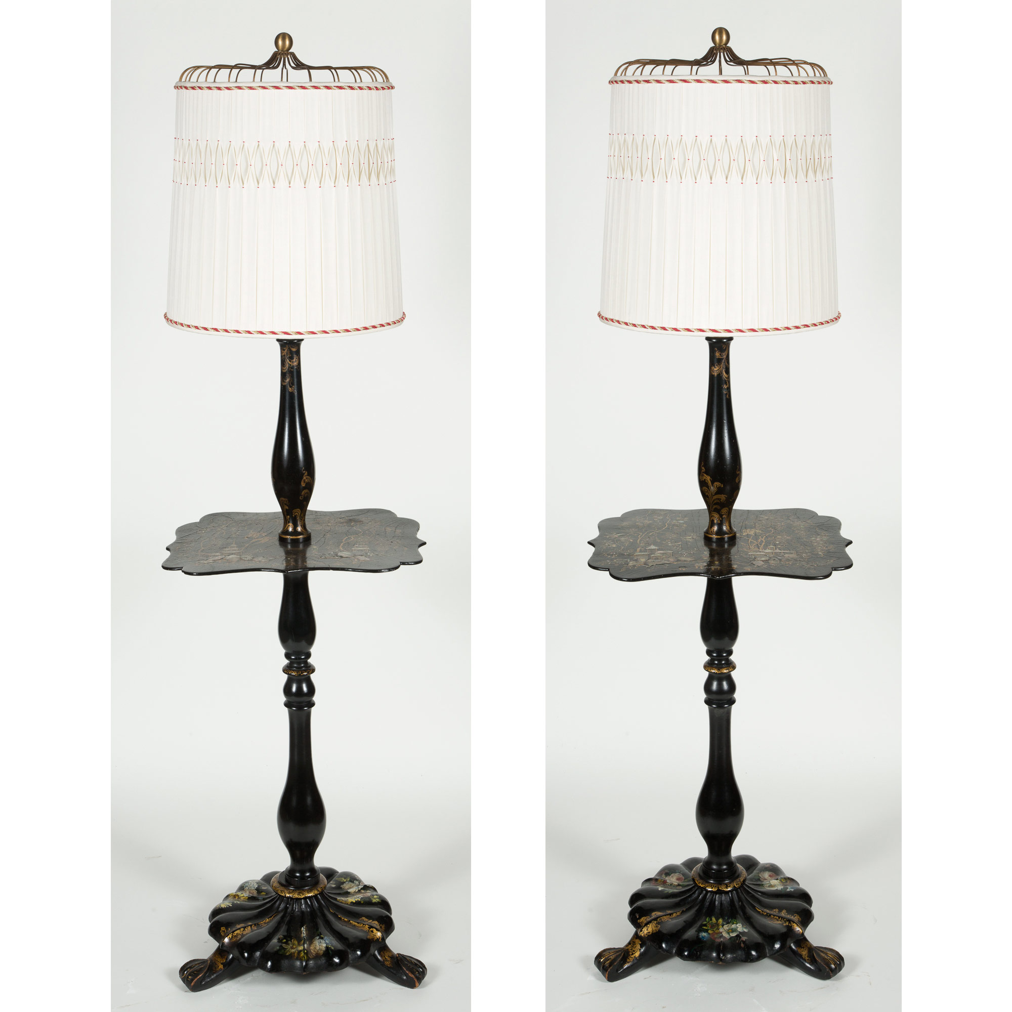 Lot image - Pair of Black Lacquer Mother of Pearl Inlaid Papier-Mâché Floor Lamps