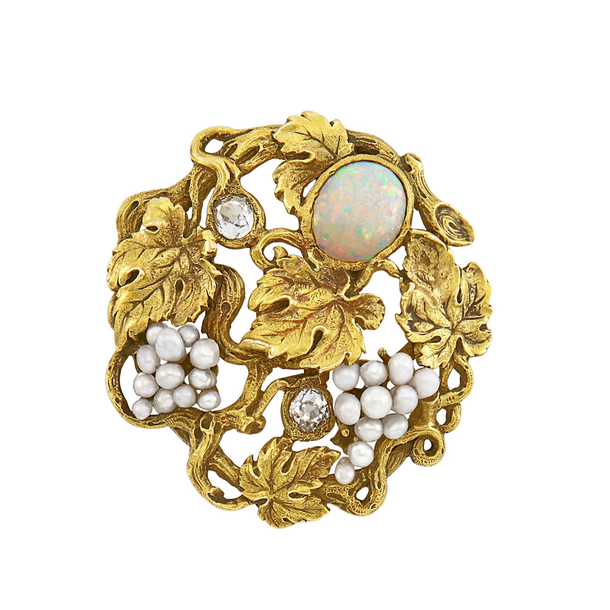 Lot image - Arts and Crafts Gold, Opal, Seed Pearl and Diamond Grapevine Brooch, F.W. Lawrence