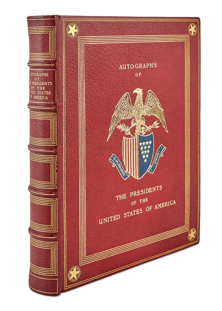 Lot image - [PRESIDENTS]  Finely bound collection of Presidential autographs from George Washington to Franklin Roosevelt.
