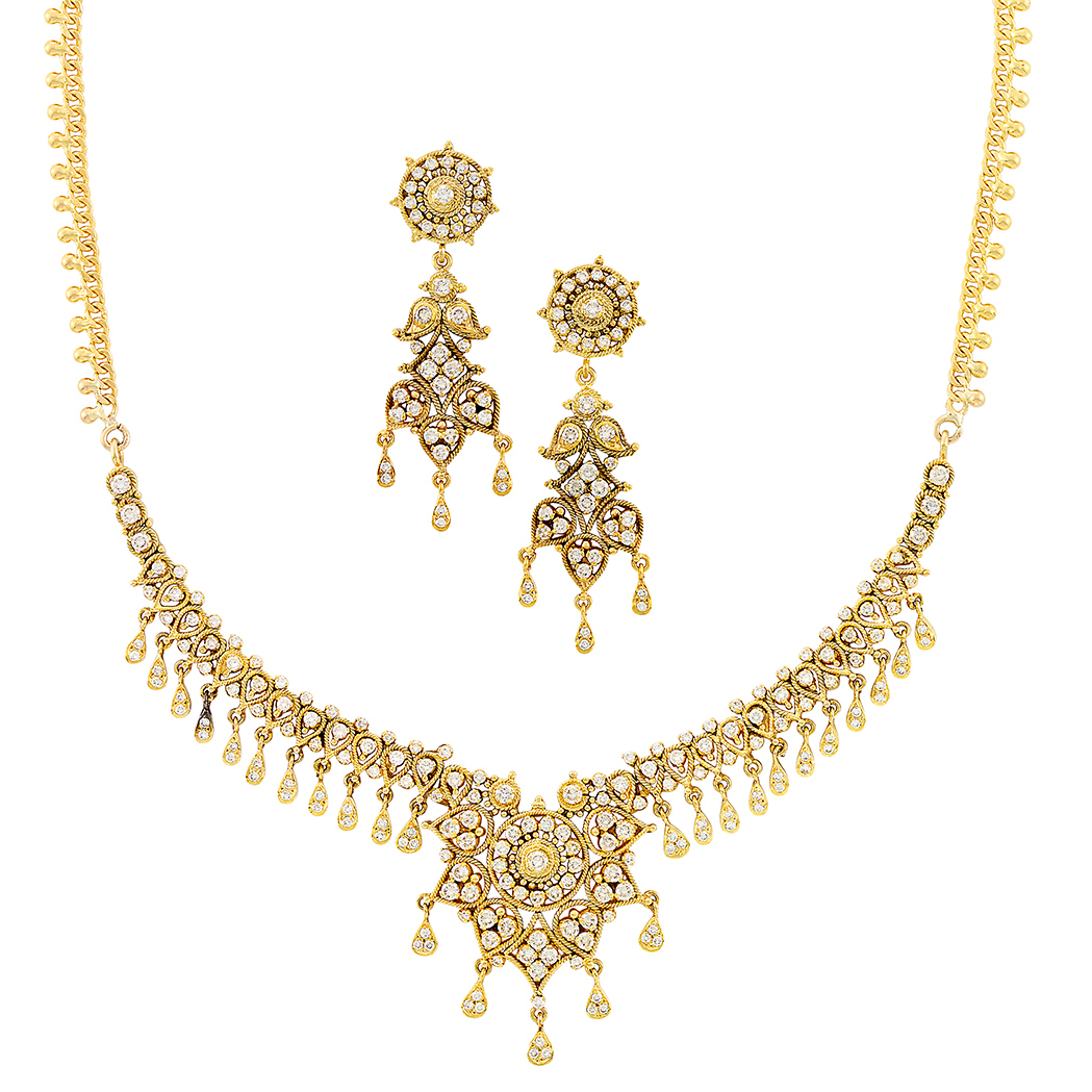 Lot image - Gold and Diamond Necklace and Pair of Pendant-Earrings