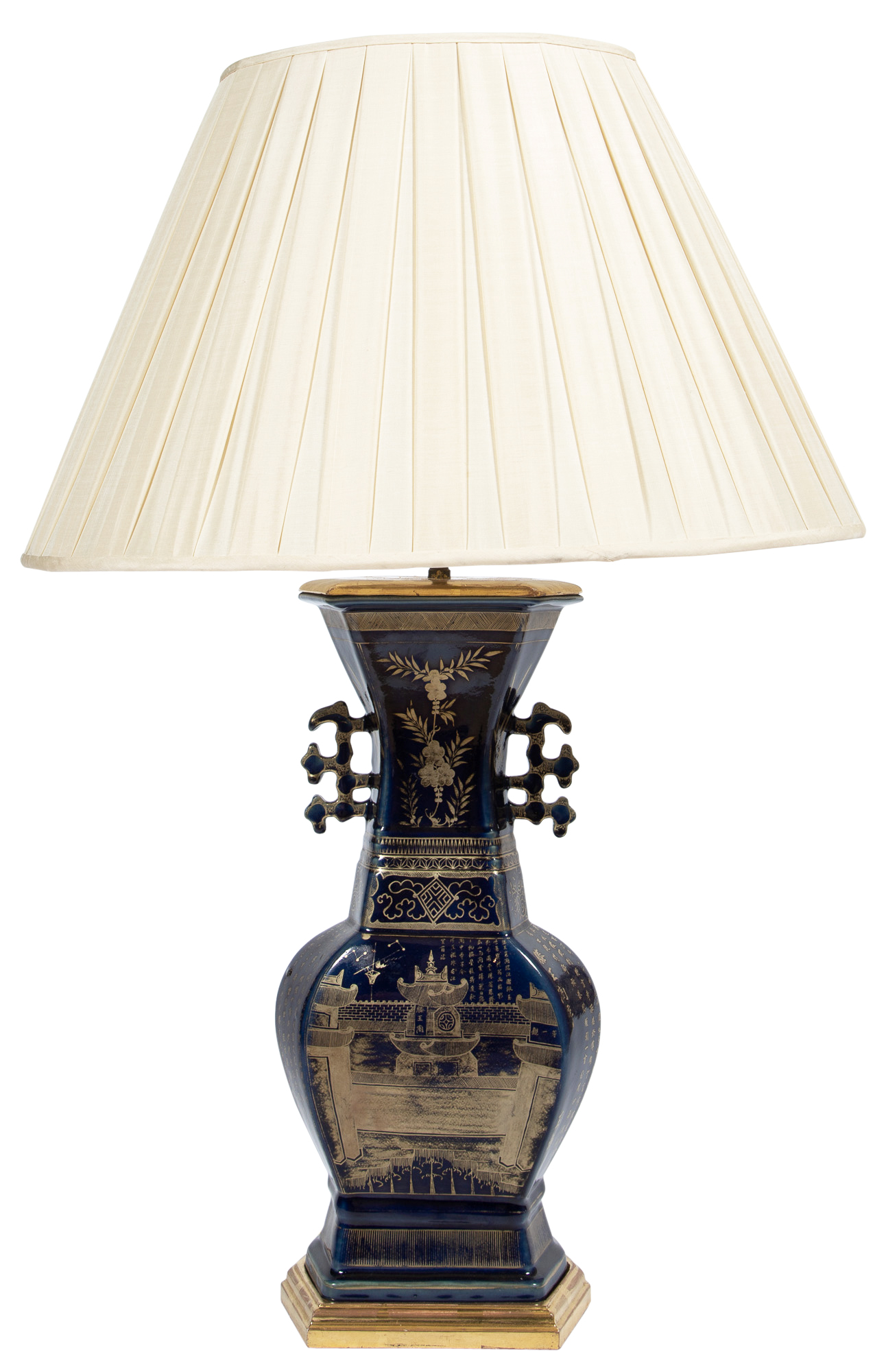 Lot image - Chinese Gilt Decorated Cobalt Ground Porcelain Lamp