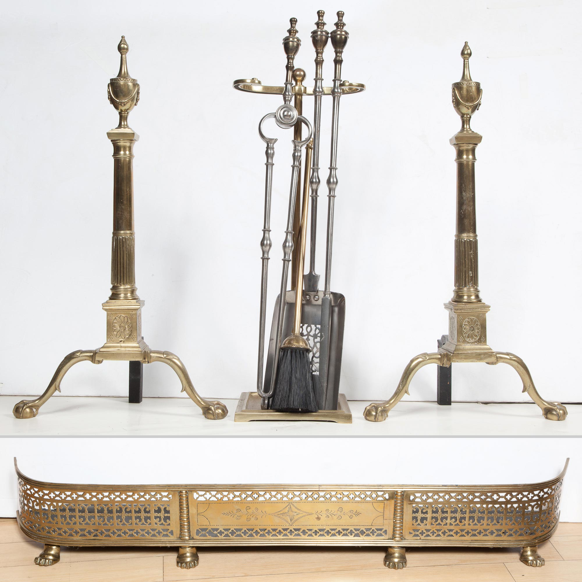 Lot image - Pair of Federal Style Brass Andirons; Together with a Set of Brass and Steel Firetools