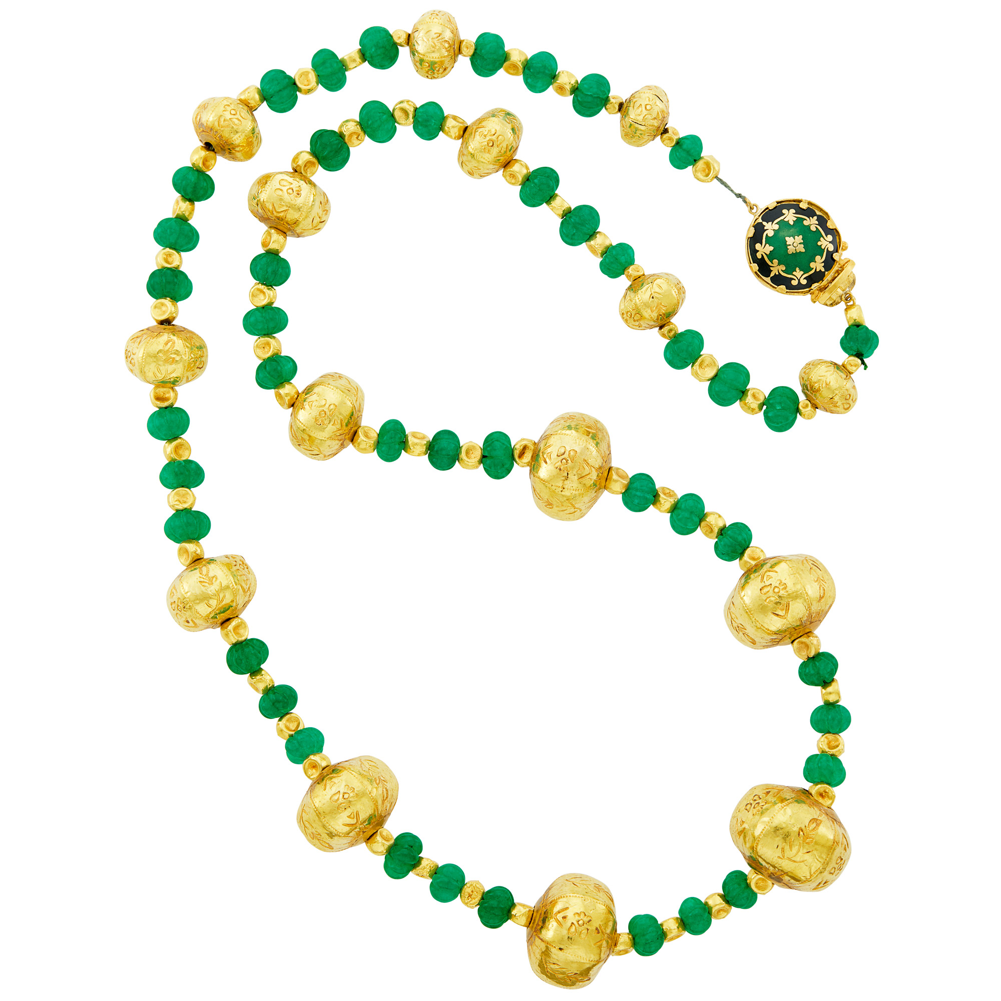 Lot image - Gold and Fluted Dyed Green Quartz Bead Necklace