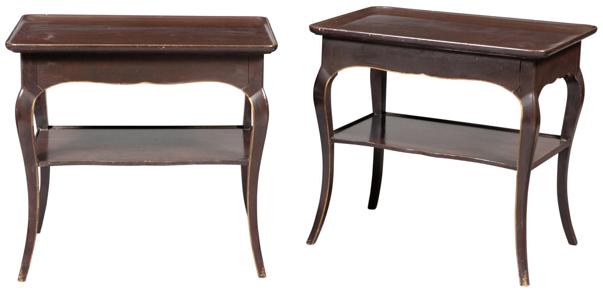 Lot image - Pair of Parish-Hadley Custom-Designed Brown-Painted and Glazed Wood Bedside Tables