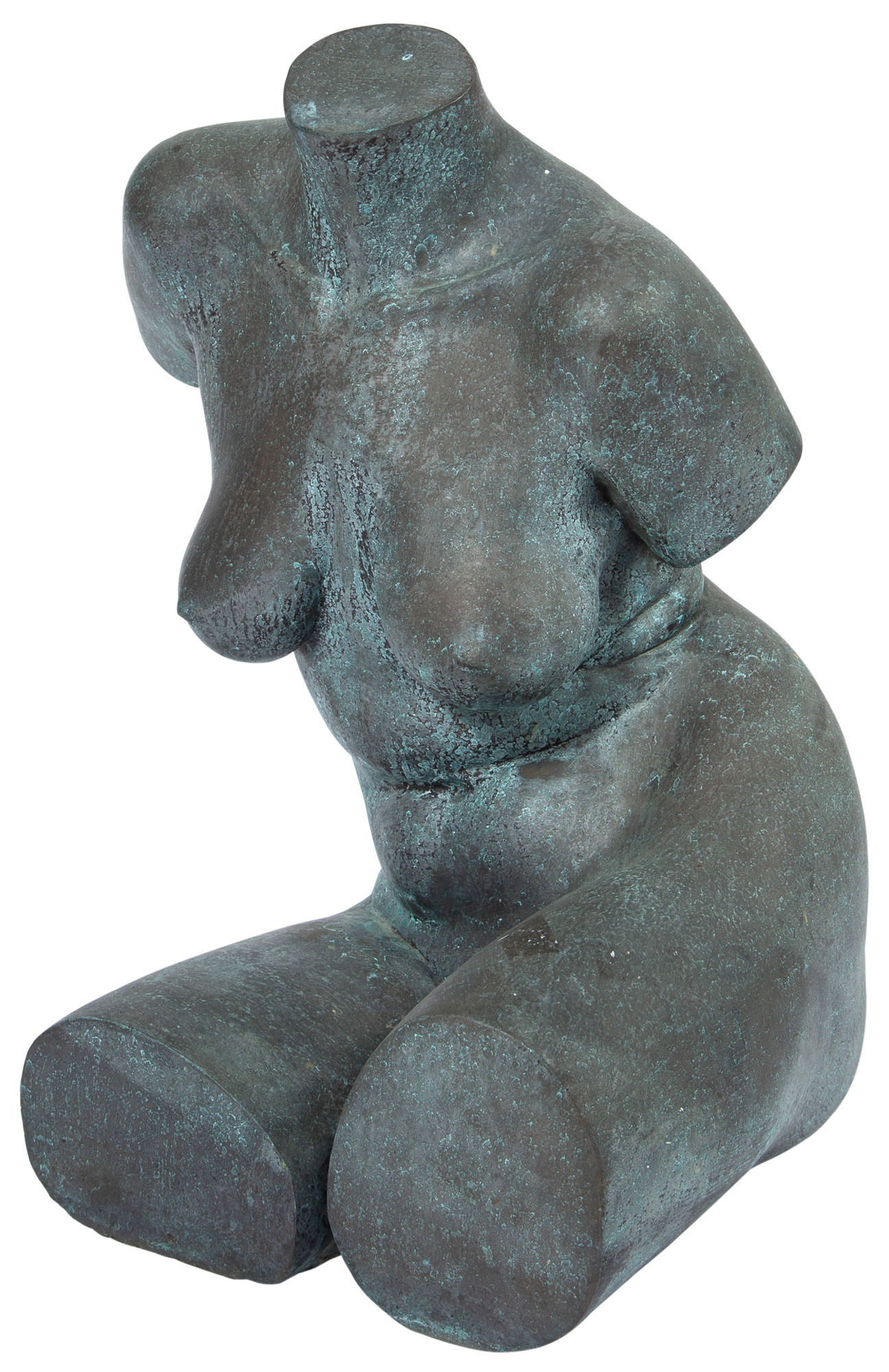 Lot image - Patinated Metal Female Torso