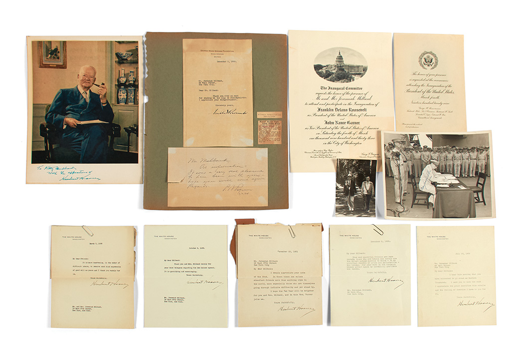 Lot image - [PRESIDENTS]  HOOVER, HERBERT. Archive of approximately seventy-five typed letters signed