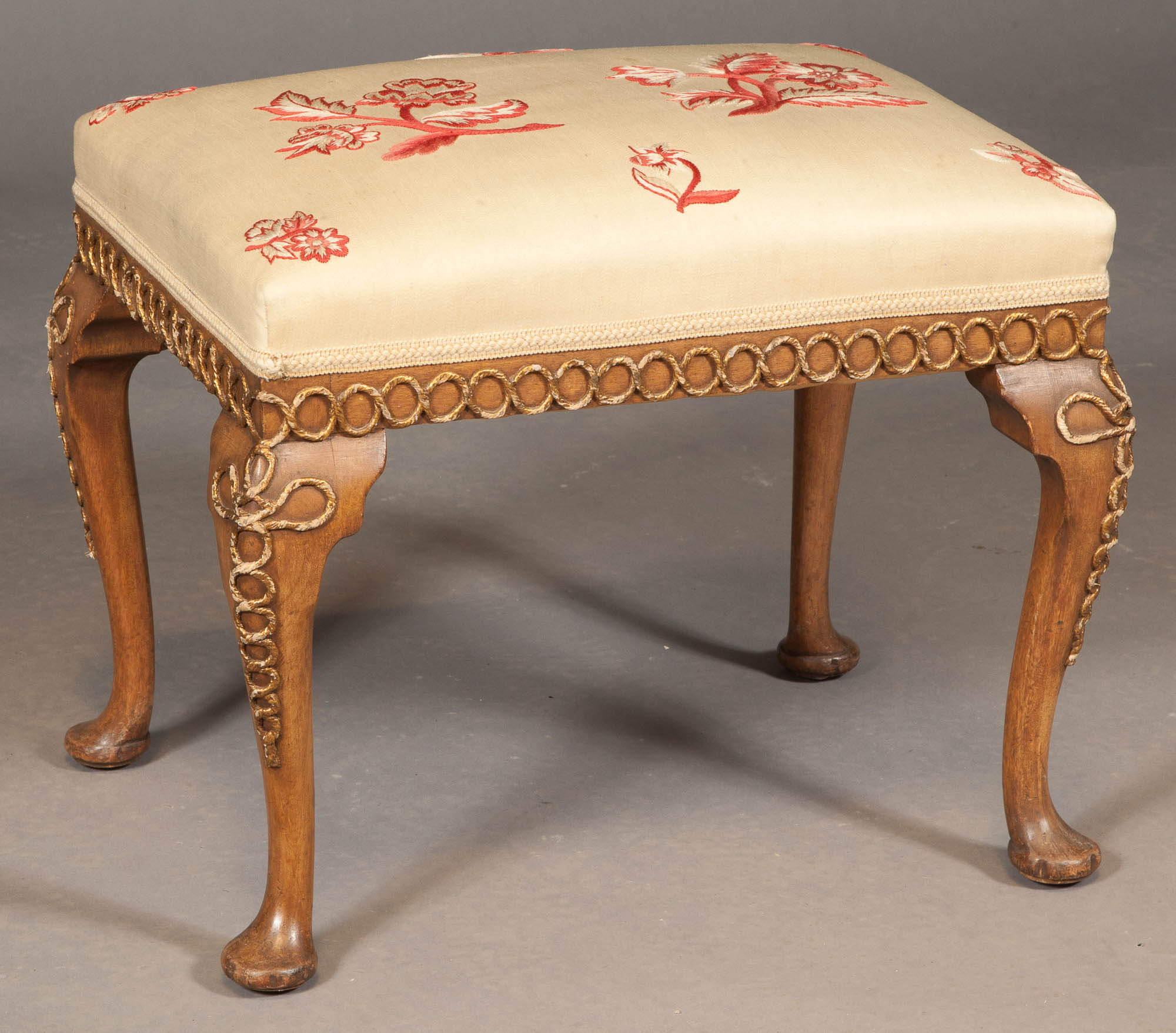 Lot image - George II Style Walnut and Parcel-Gilt Stool