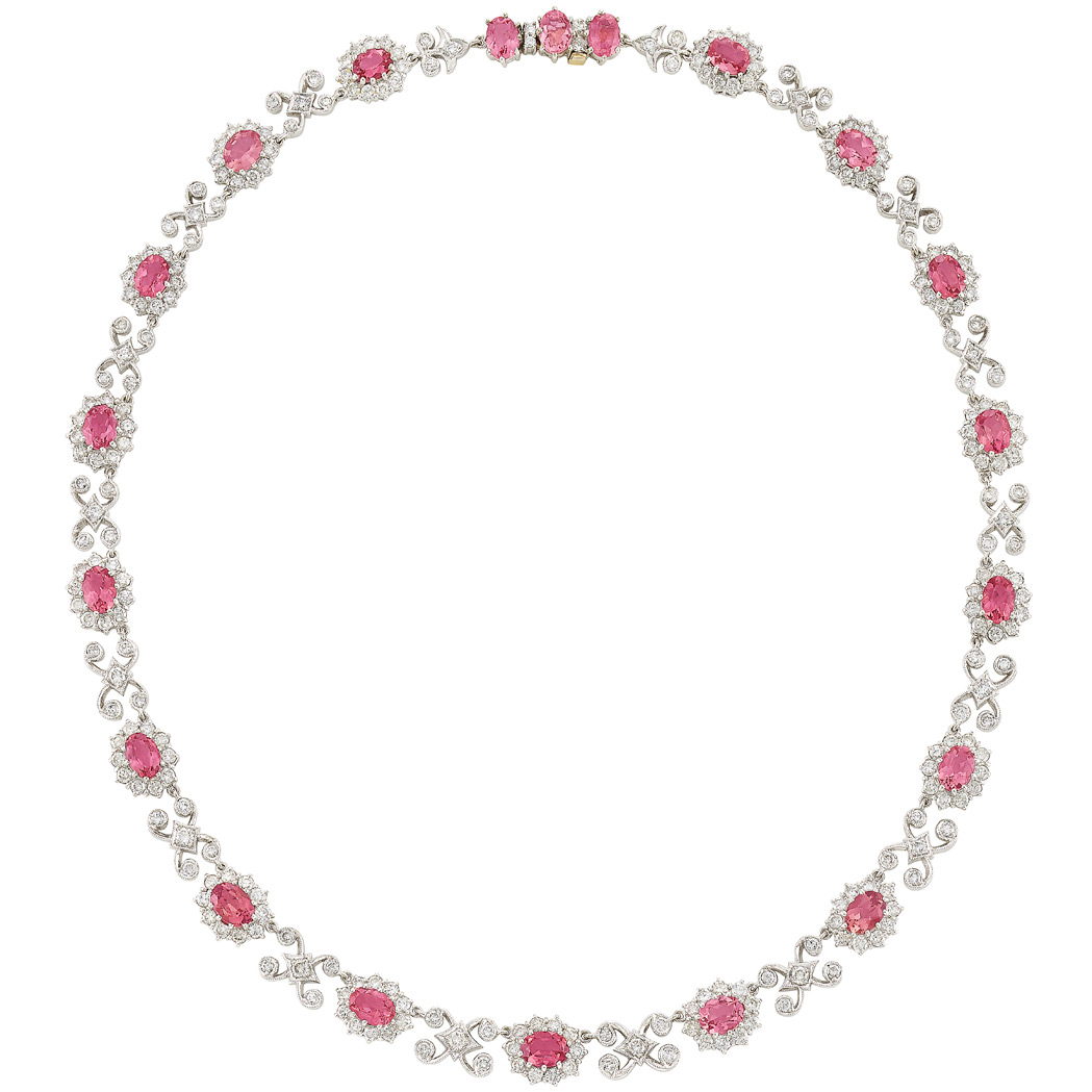 Lot image - White Gold, Pink Tourmaline and Diamond Necklace