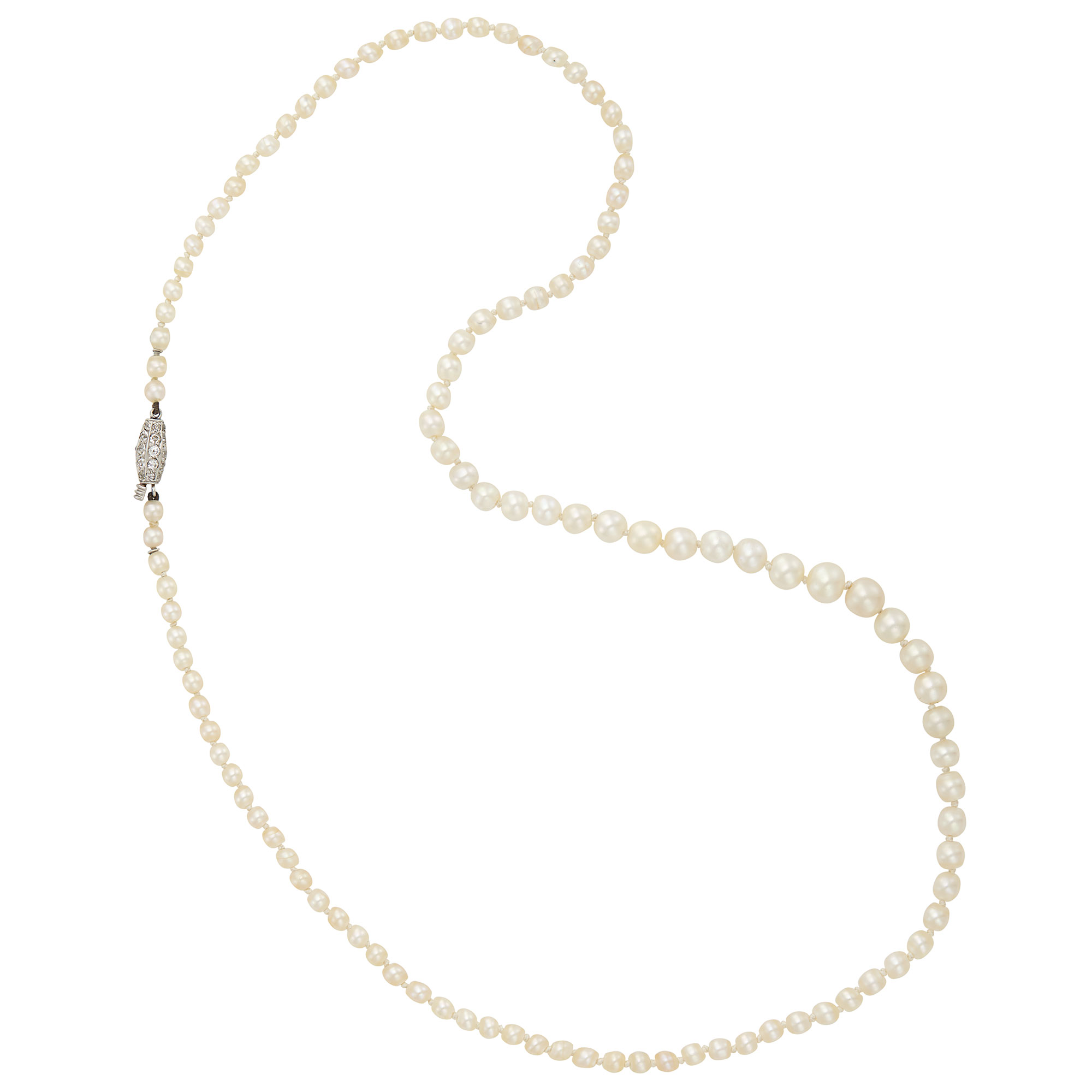 Lot image - Natural Pearl Necklace with Platinum and Diamond Clasp