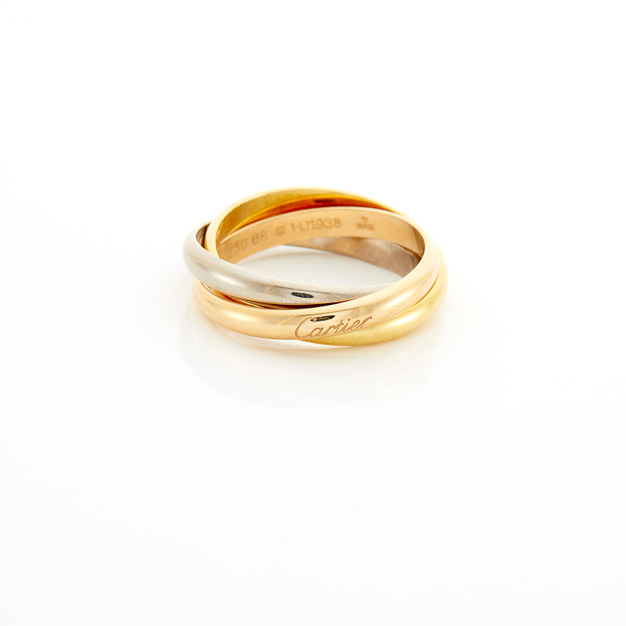 Lot image - Tricolor Gold Trinity Ring, Cartier