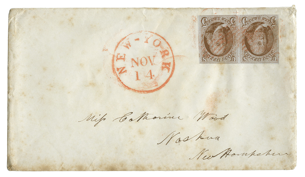 Lot image - United States 1847 5 Cents Pair on Cover, Scott 1