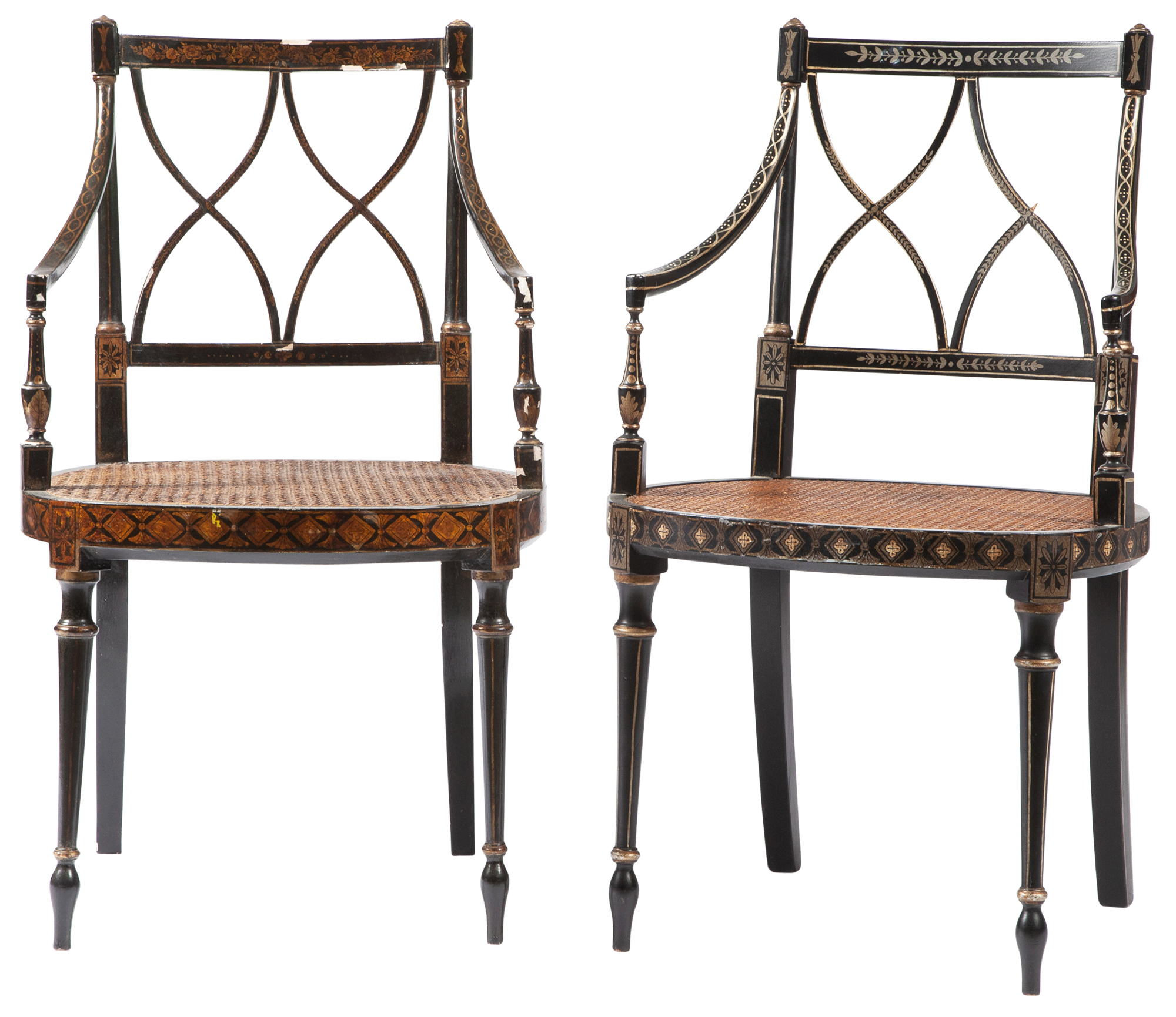 Lot image - Assembled Pair of Regency Style Painted and Parcel-Gilt Caned Open Armchairs