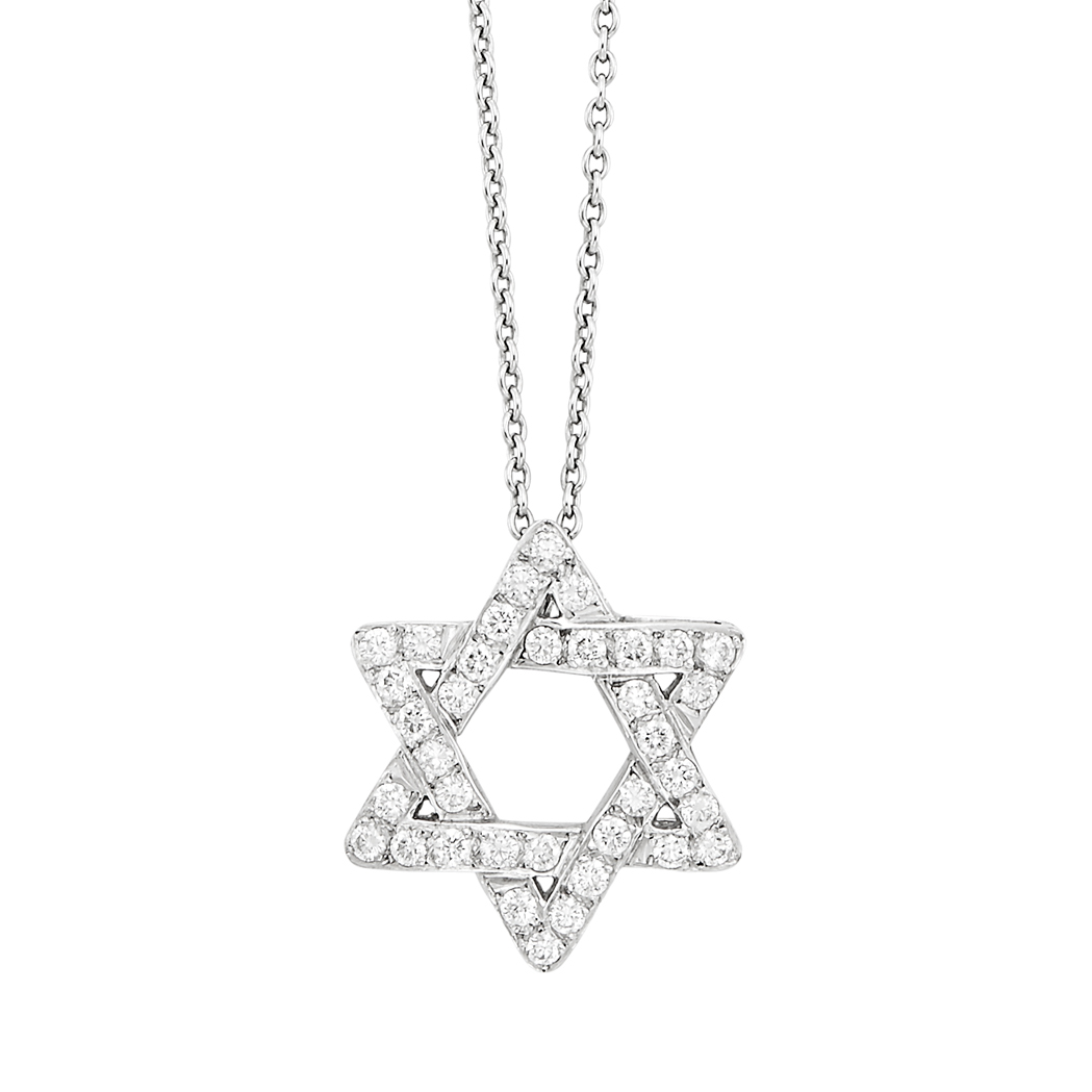 Lot image - Platinum and Diamond Star of David Pendant, Tiffany & Co., with White Gold Chain Necklace
