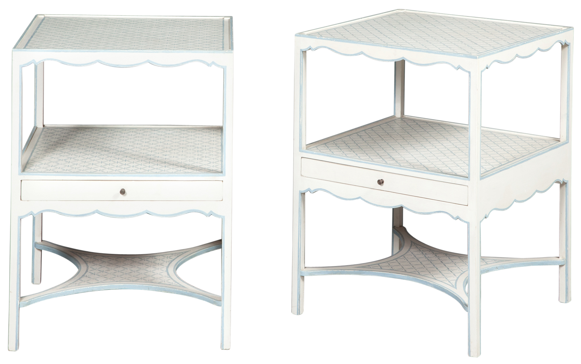 Lot image - Pair of Parish-Hadley Custom-Designed Blue and White-Painted Bedside Tables