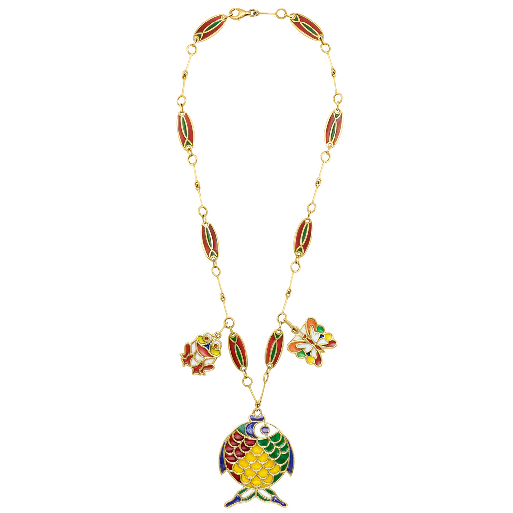 Lot image - Gold and Plique-a-Jour Enamel Pendant-Necklace