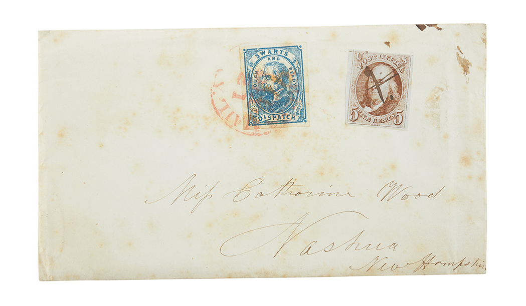 Lot image - United States 1847 5 Cents with Swarts City Dispatch Local on Cover, Scott 1 and 137L8