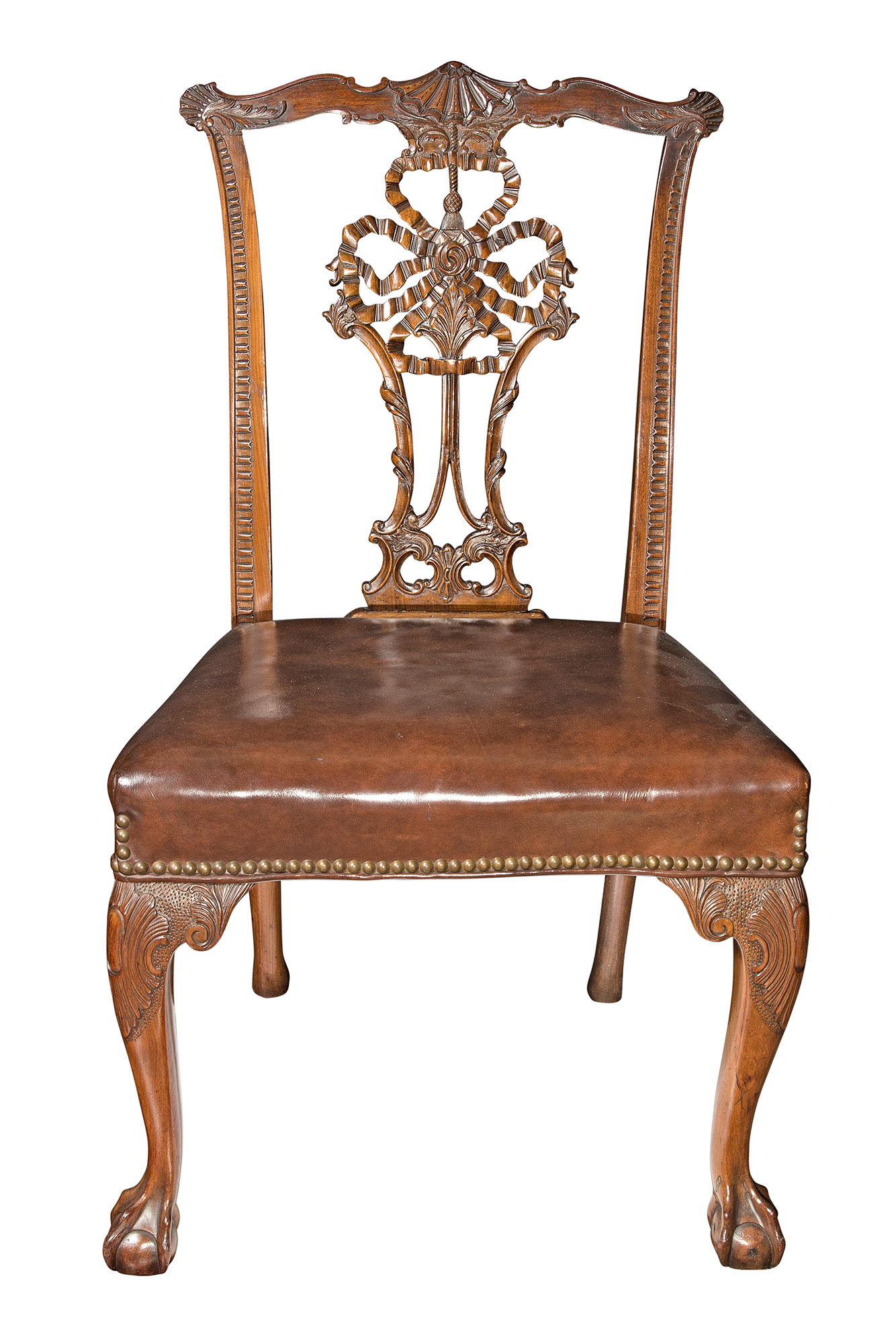 Lot image - Set of Eight George II Style Mahogany Ribbon-Back Dining Chairs