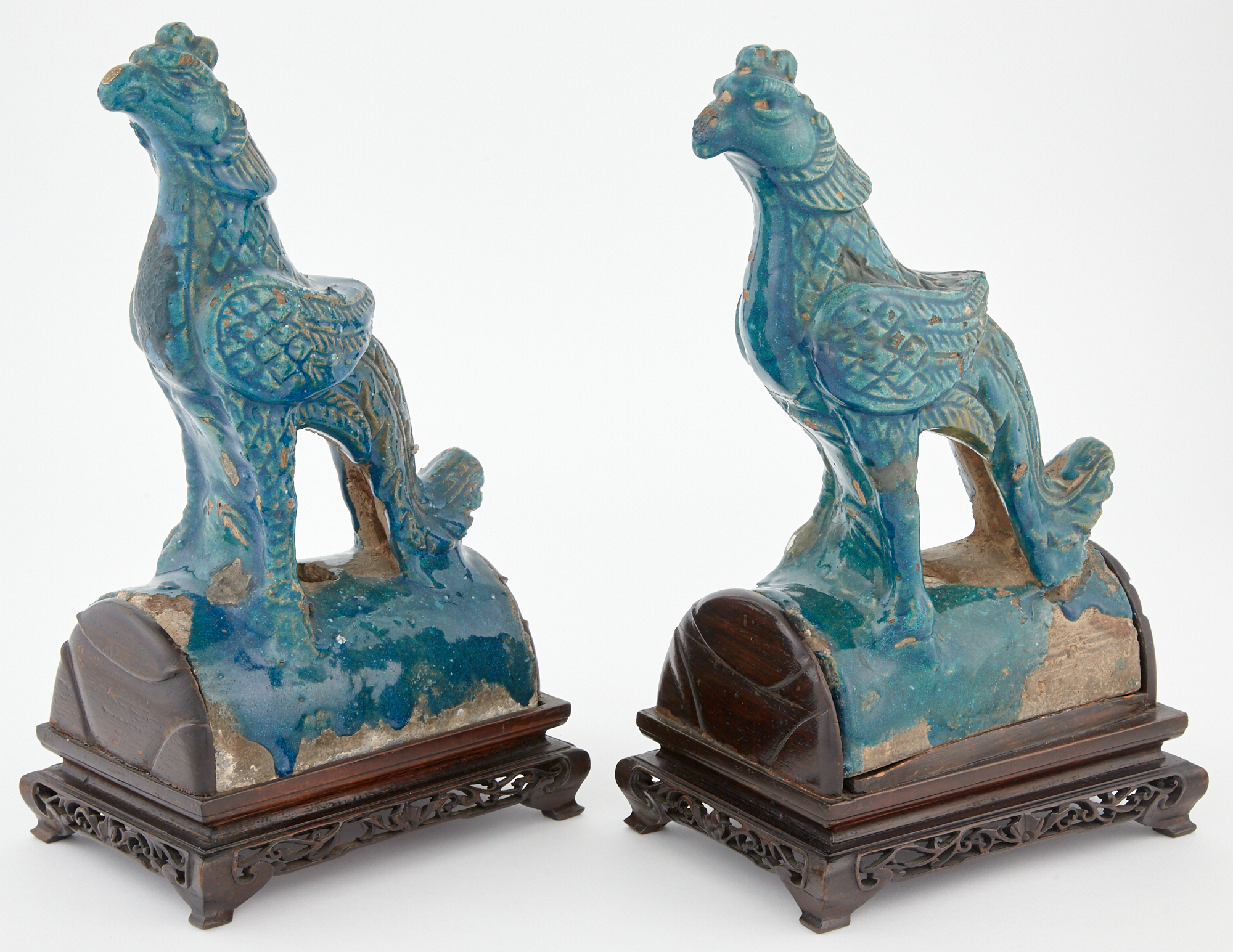 Lot image - Pair of Chinese Blue Glazed Pottery Roof Tiles