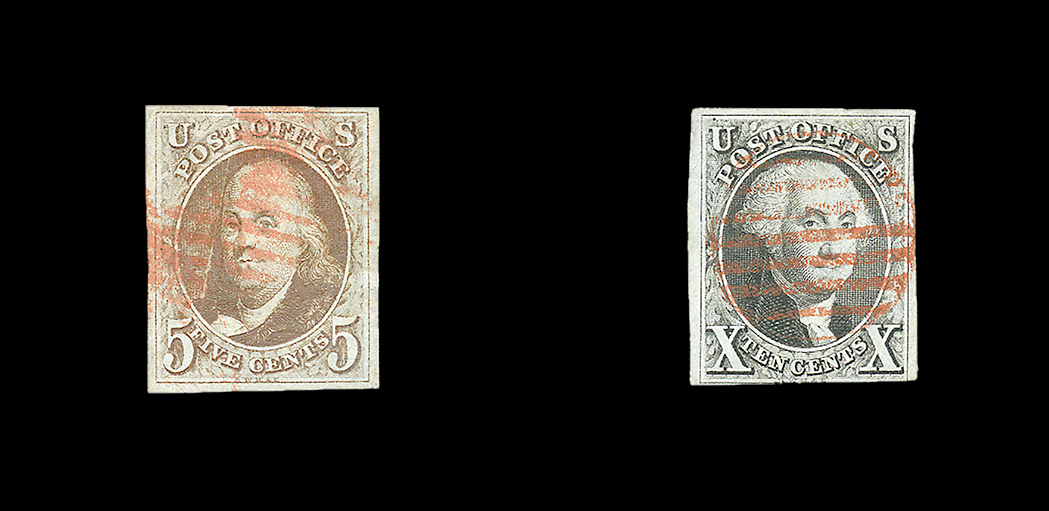 Lot image - United States 1847 5 Cent and 10 Cent Issue, Scott 1 and 2