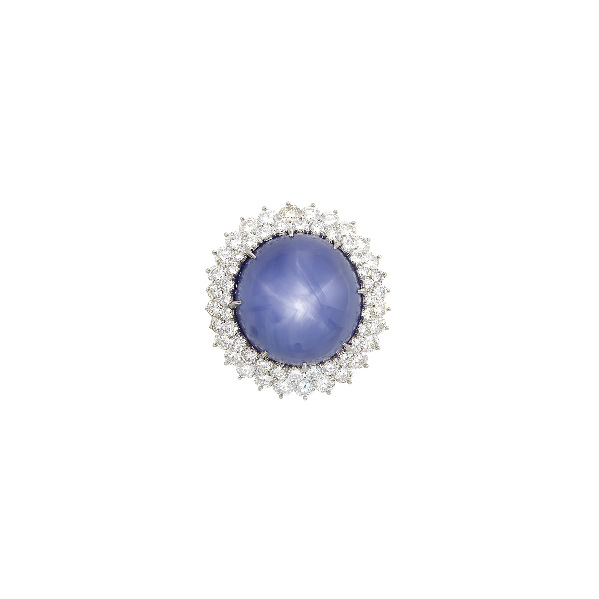 Lot image - Platinum, Star Sapphire and Diamond Ring